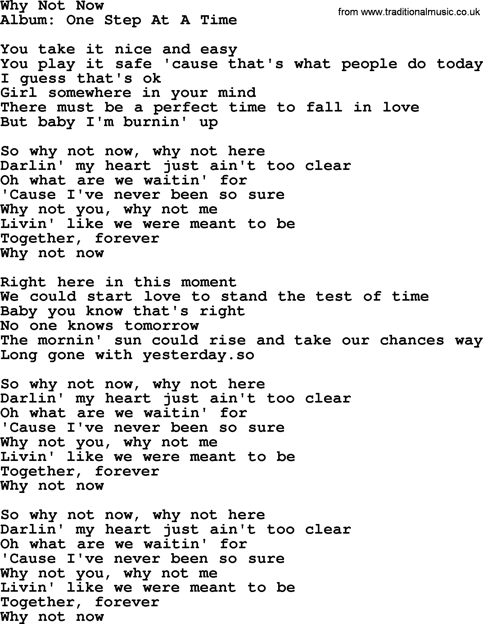 Why Not Now By George Strait Lyrics
