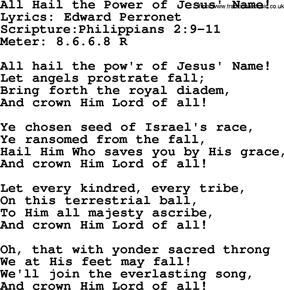All Hail the power of Jesus Name Worship Video w lyrics ...