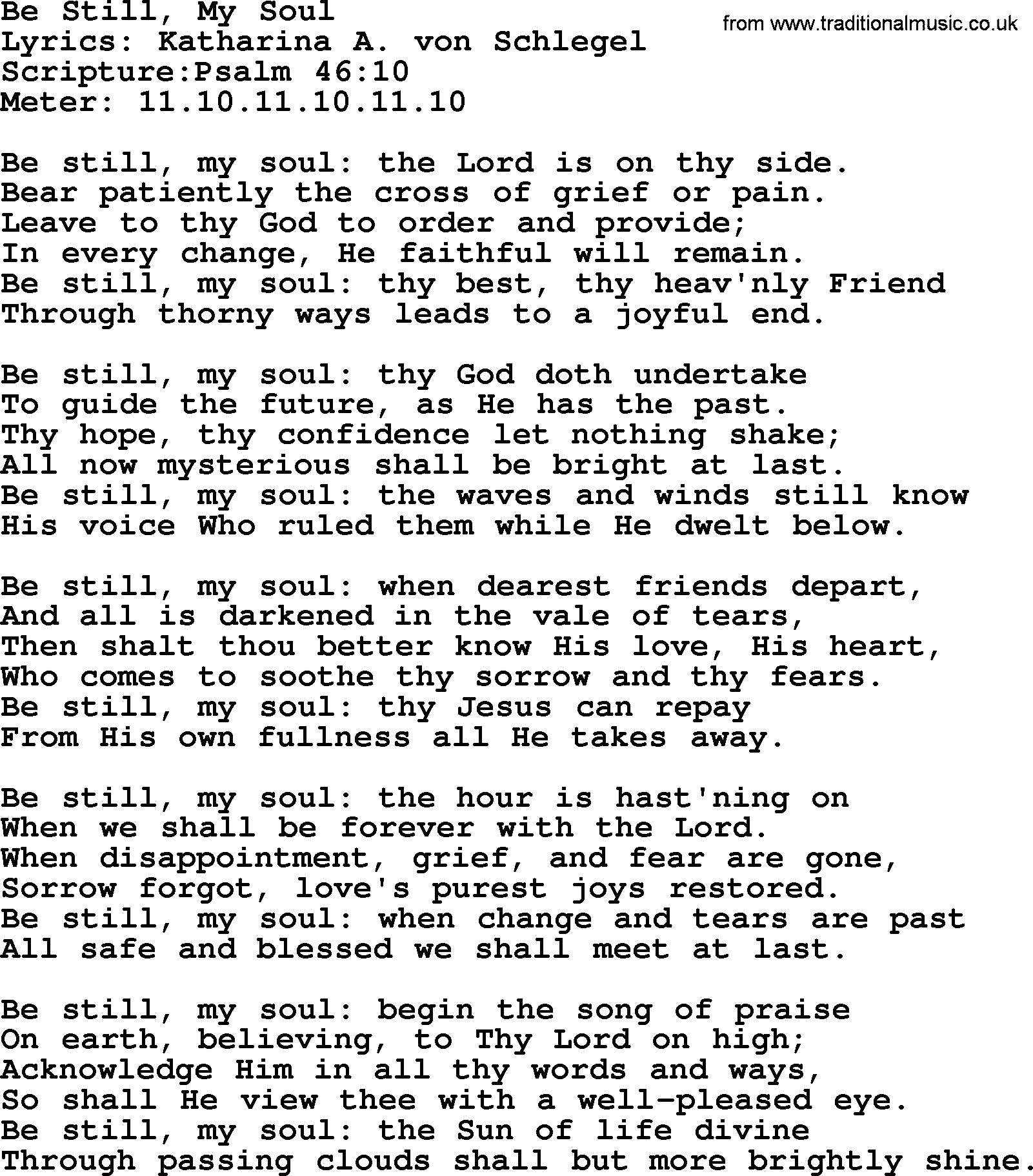 Good Old Hymns Be Still My Soul Lyrics Sheetmusic