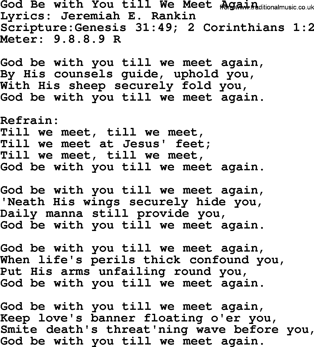 god be with you till we meet again lyrics in french