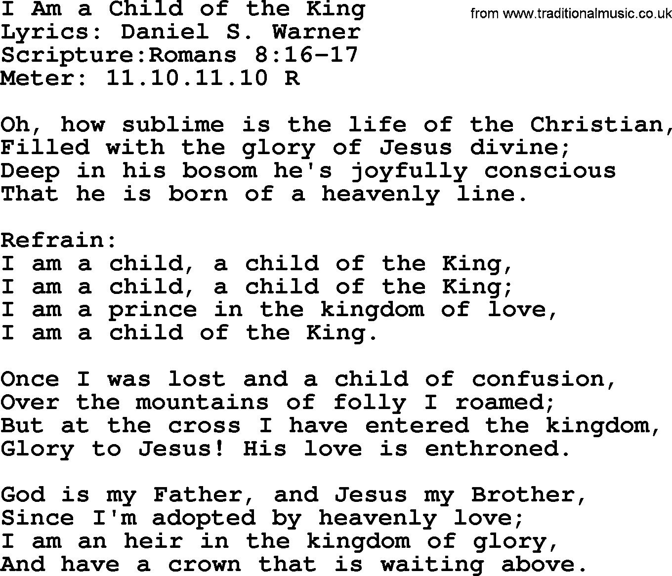 Child of the King with lyrics - YouTube