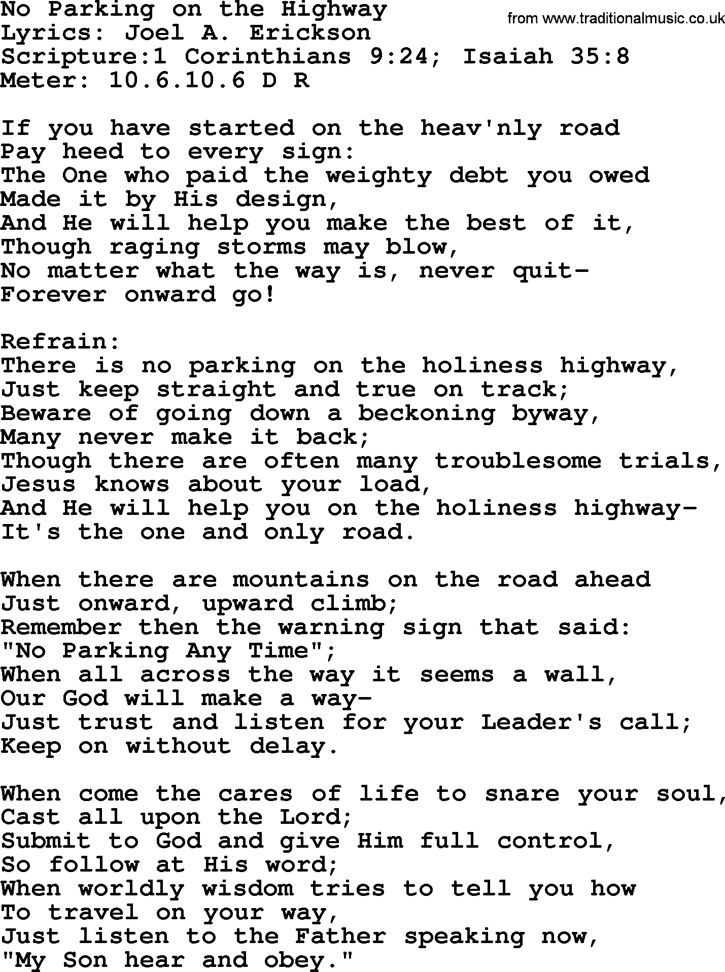 Good Old Hymns - No Parking on the Highway - Lyrics