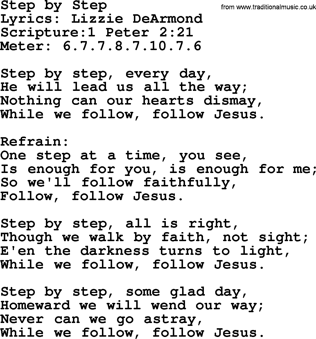 Good Old Hymns - Step by Step - Lyrics, Sheetmusic, midi ...