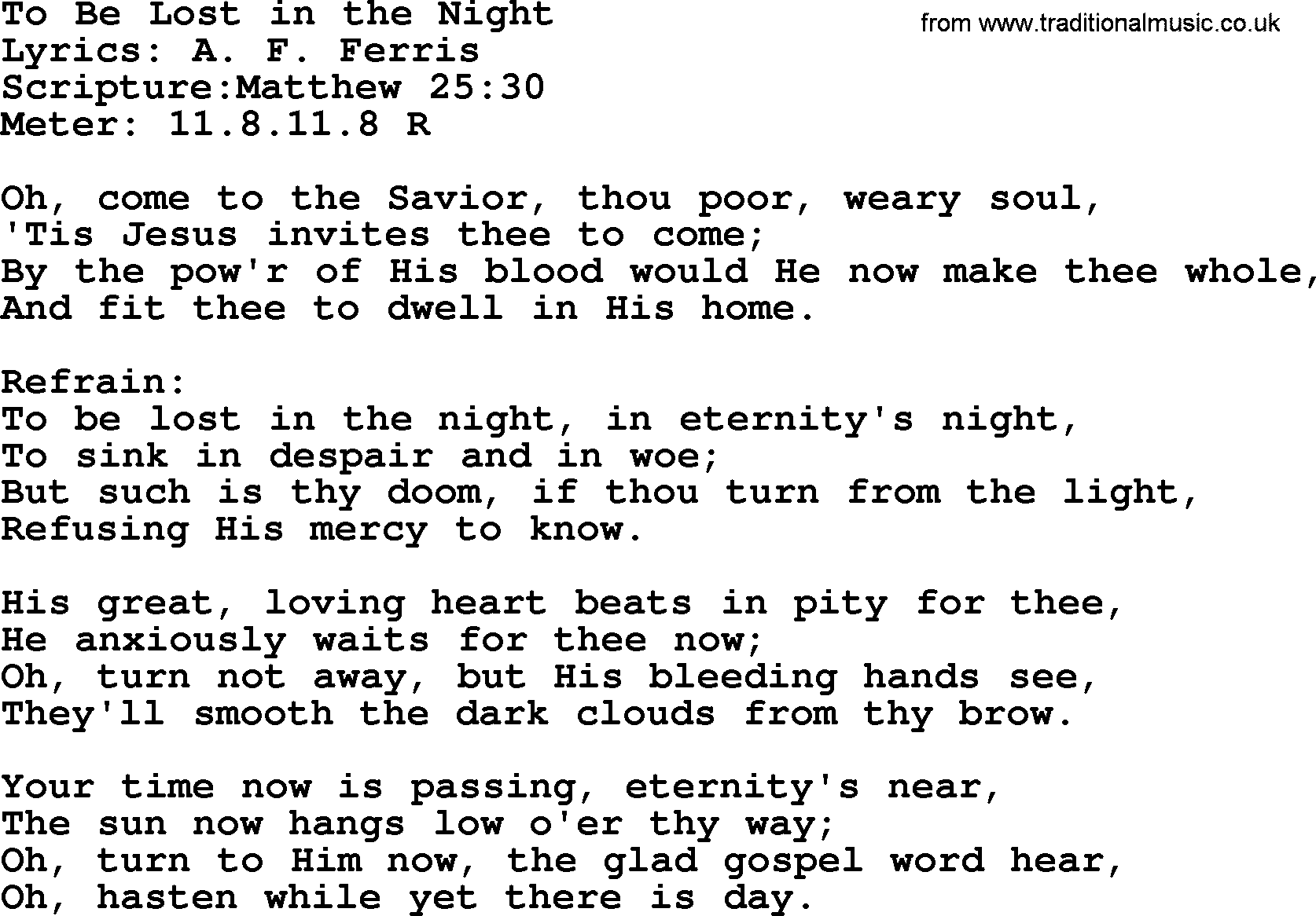 Good old hymns to be lost in the night lyrics sheetmusic midi hymns about angels hymn to be lost in the night lyrics sheet stopboris Image collections