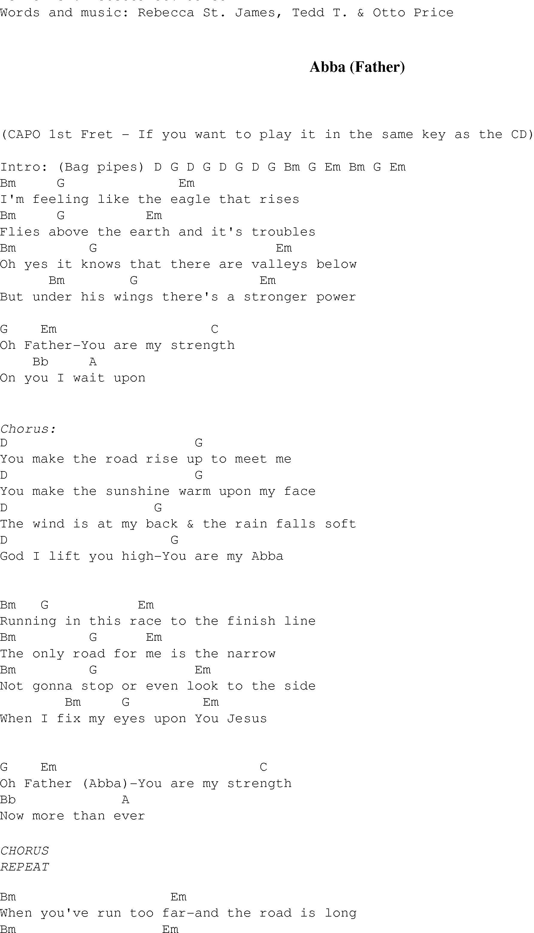 Abba (Father) - Christian Gospel Song Lyrics and Chords
