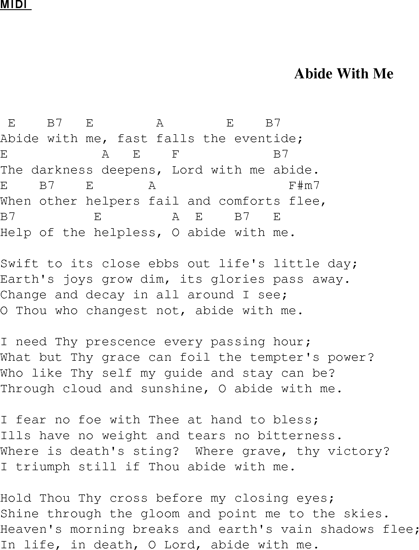 Abide With Me Christian Gospel Song Lyrics And Chords