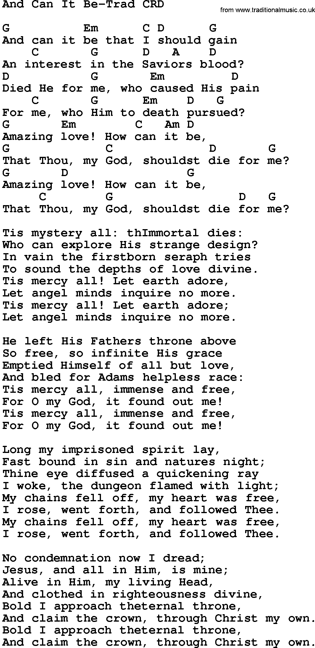 Song and can it be trad lyrics and chords gospel song and can it be trad lyrics and chords hexwebz Images