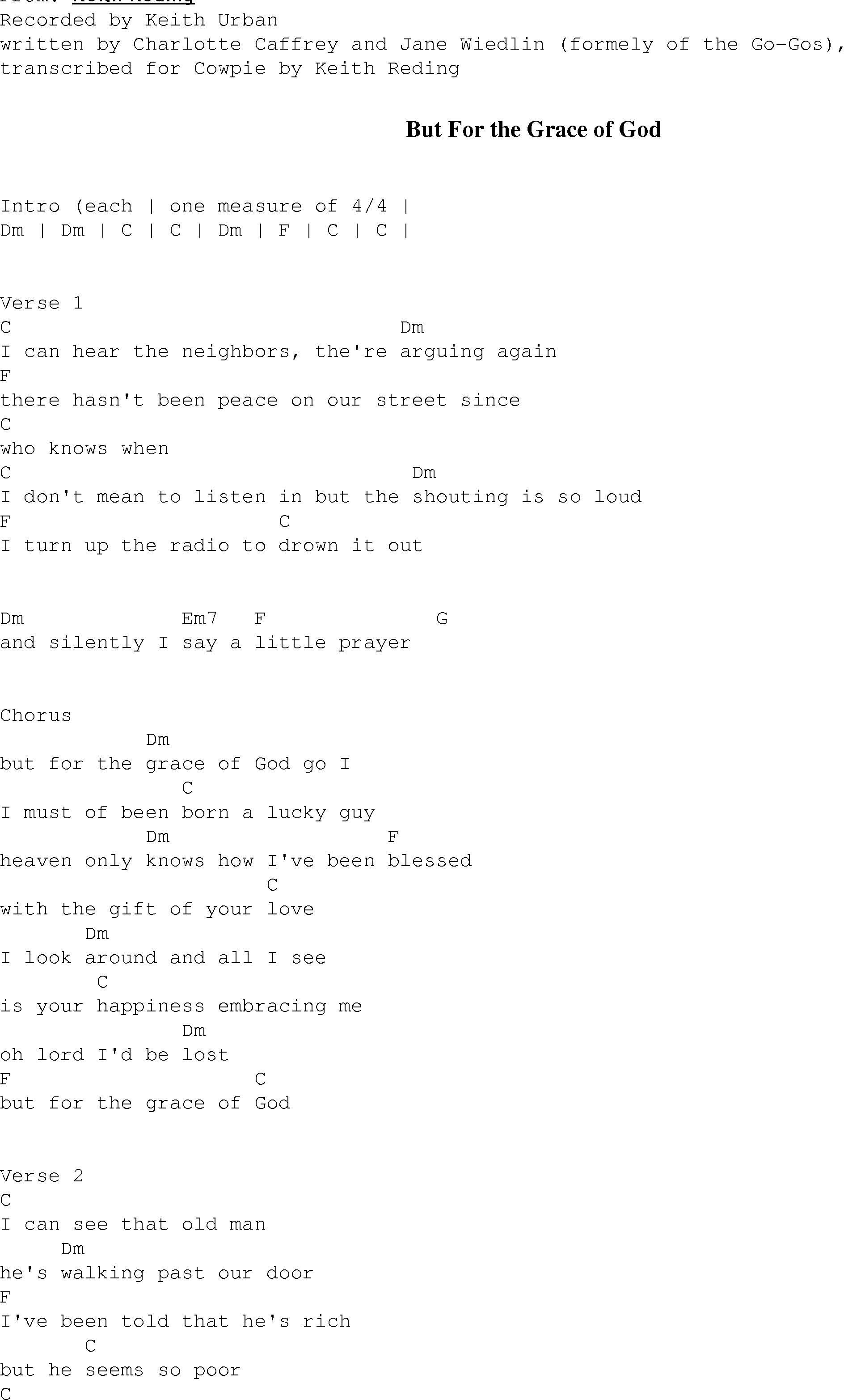 But For The Grace Of God Christian Gospel Song Lyrics And Chords