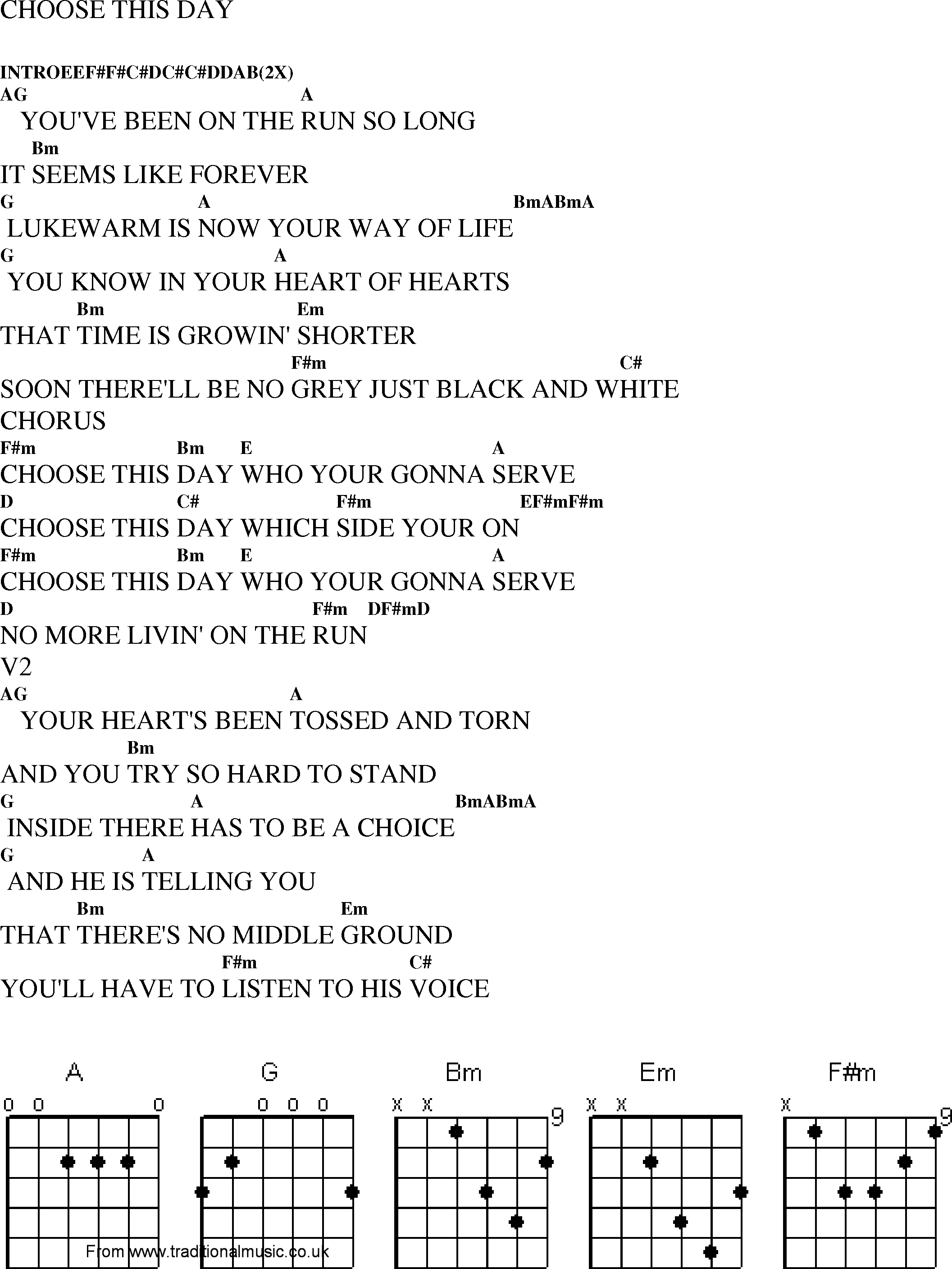 Christian Gospel Worship Song Lyrics with Chords   Choose This Day