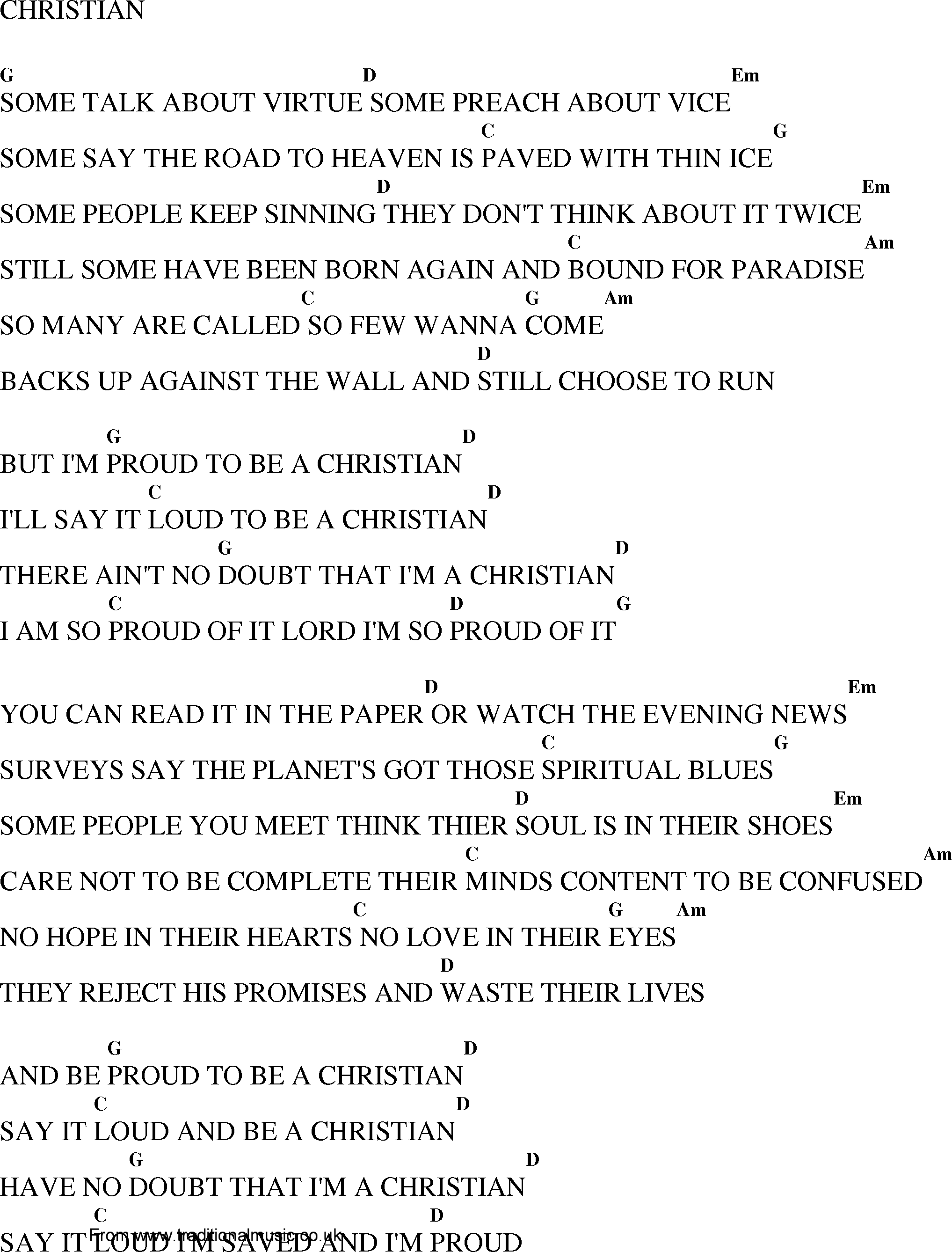 Free lyrics and chords for christian songs