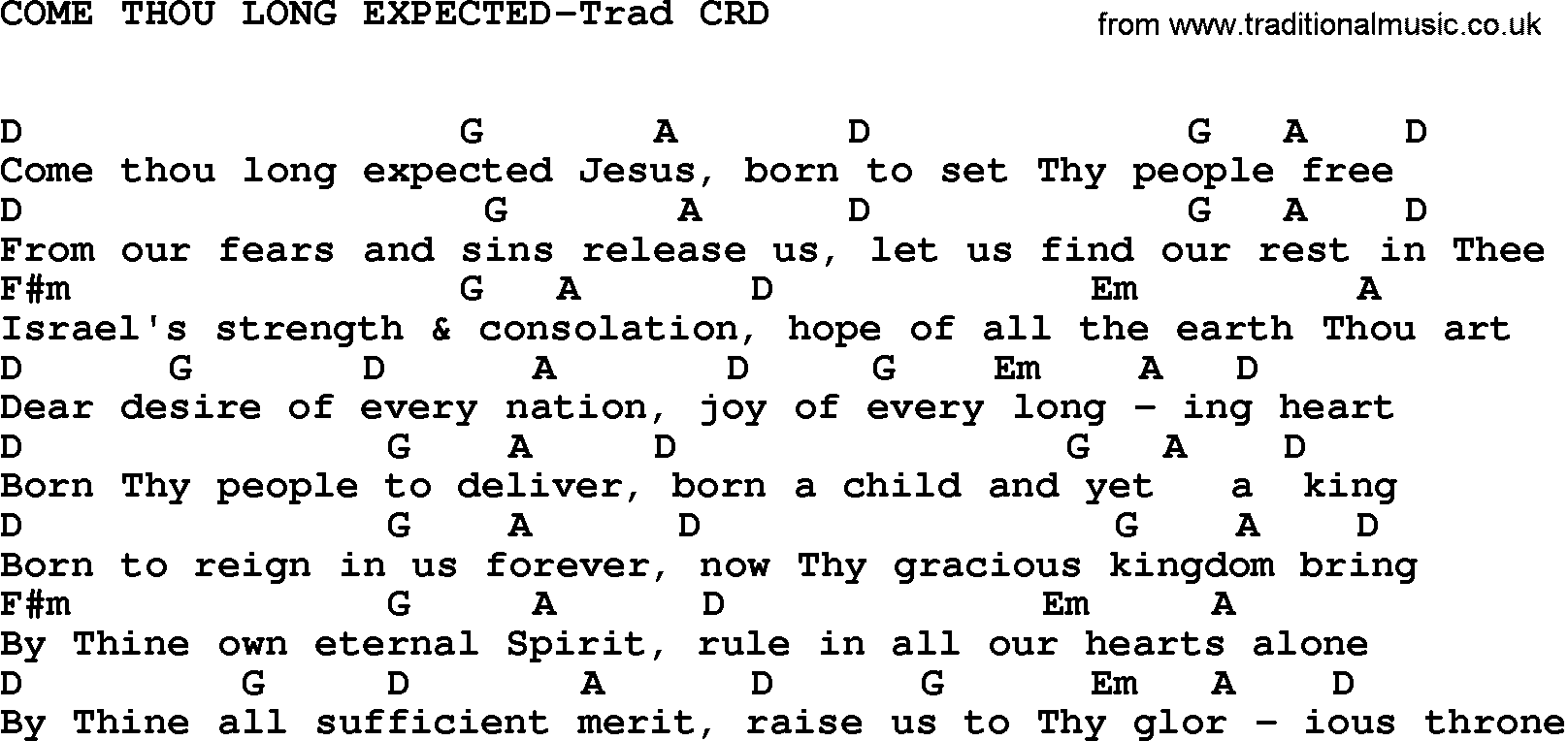 Gospel Song Come Thou Long Expected Trad Lyrics And Chords