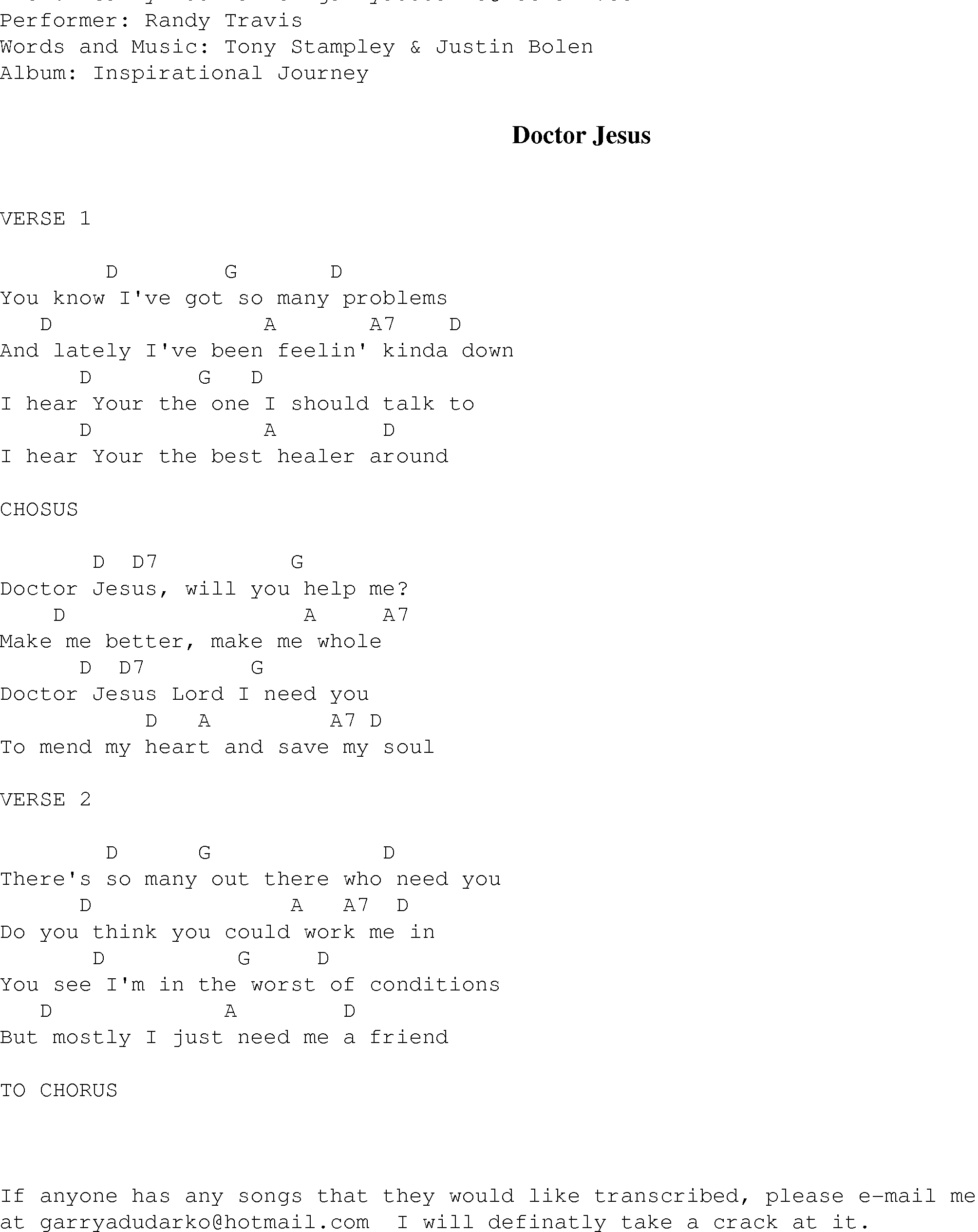 Doctor Jesus - Christian Gospel Song Lyrics and Chords