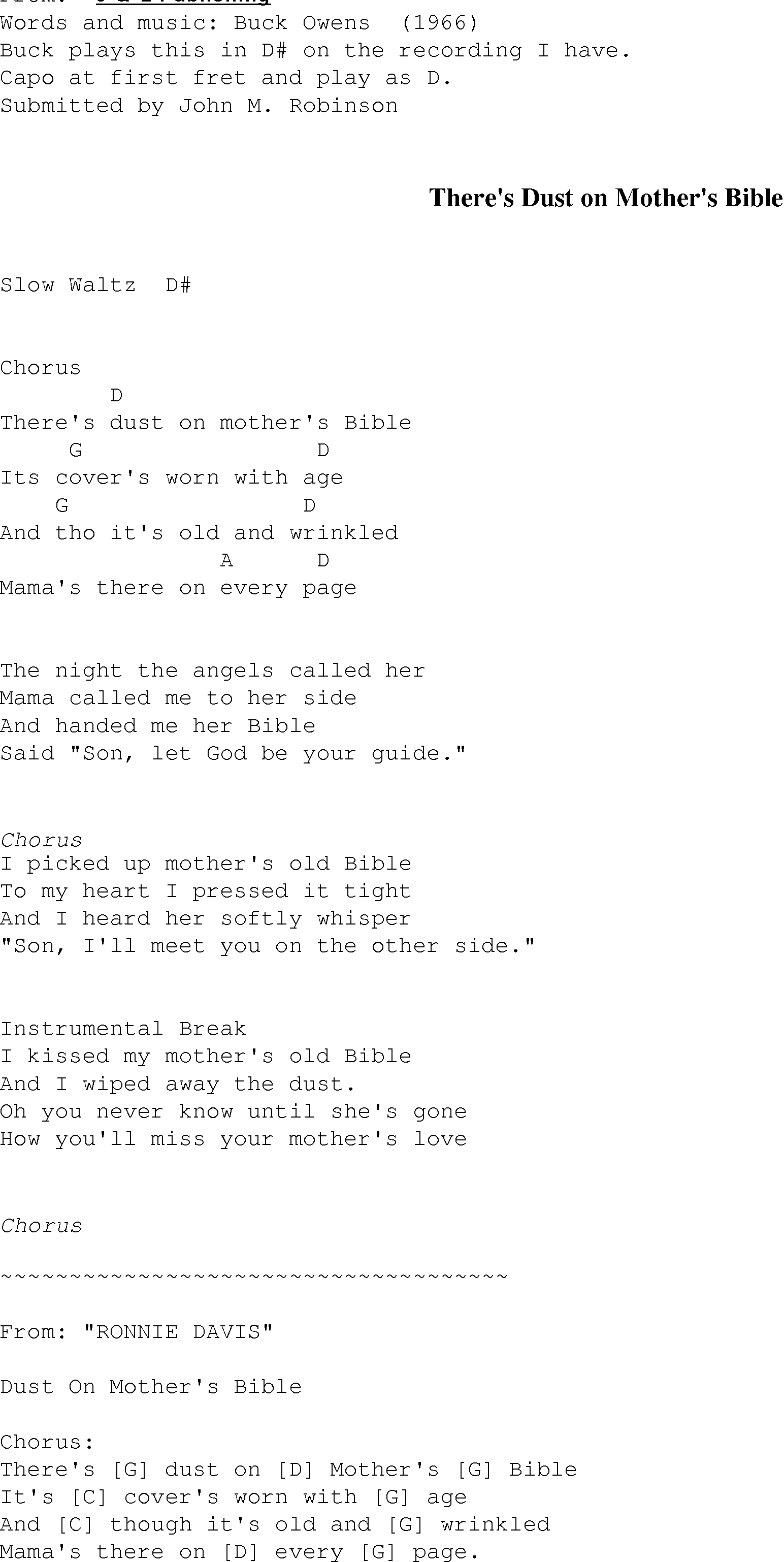 Theres Dust On Mothers Bible Christian Gospel Song Lyrics And Chords