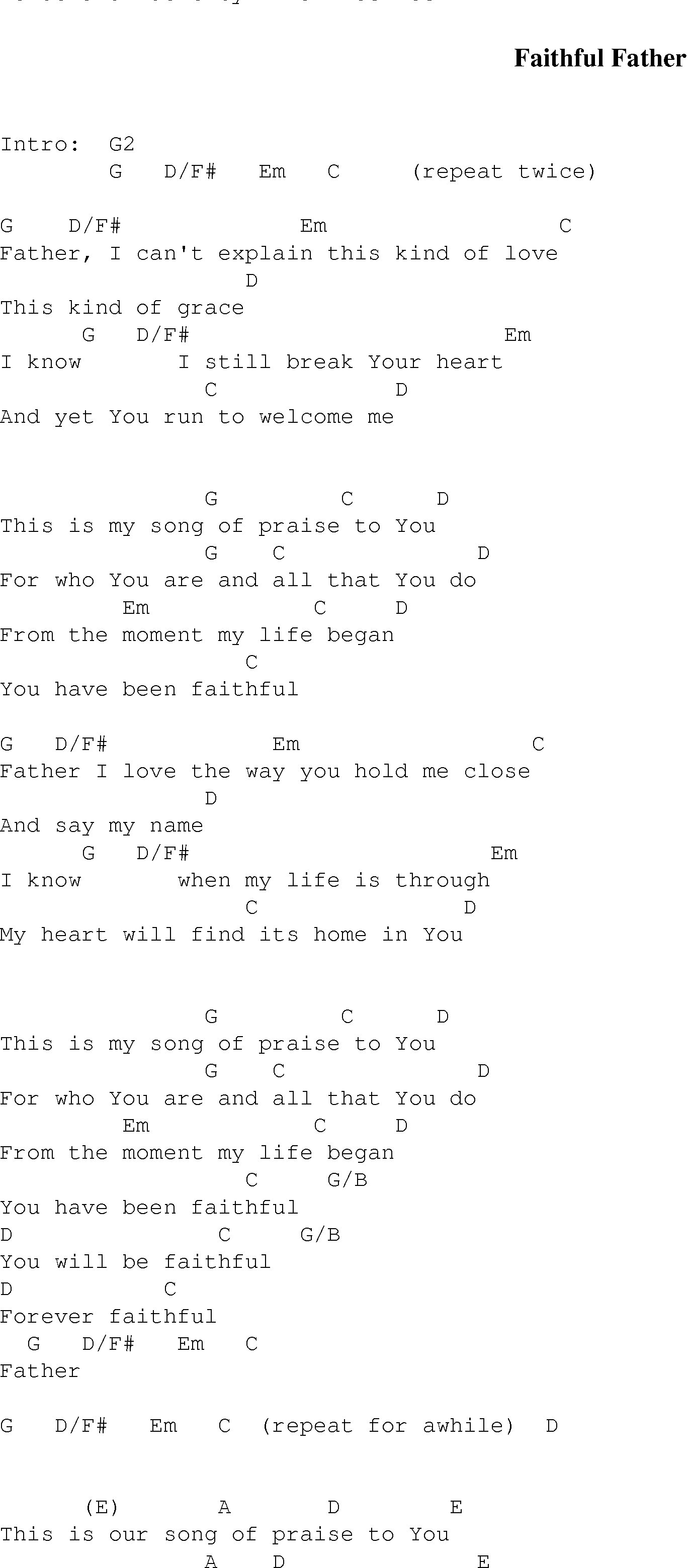 Faithful father christian gospel song lyrics and chords gospel song faithfulfather lyrics and chords hexwebz Image collections