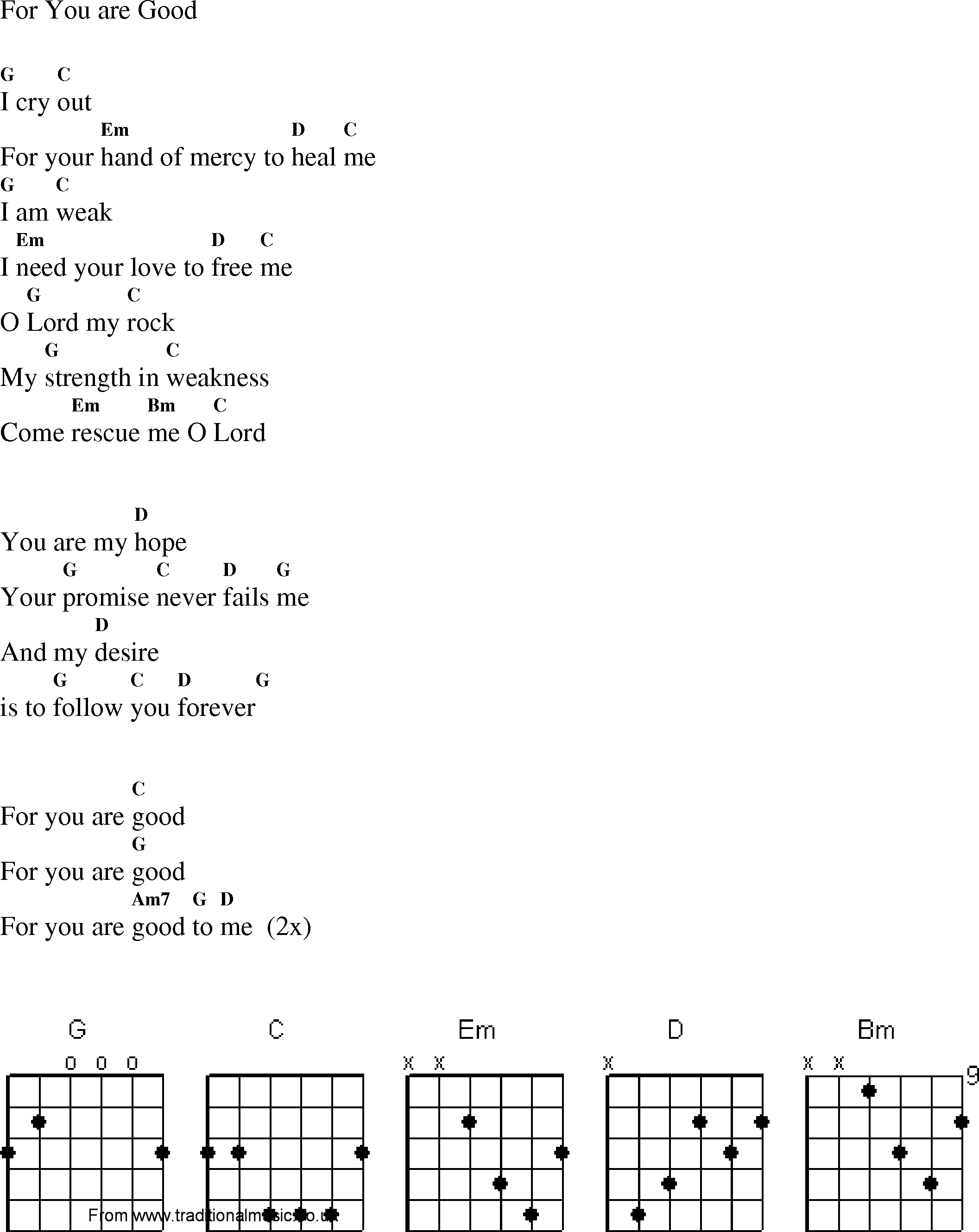 Christian Gospel Worship Song Lyrics with Chords - For You