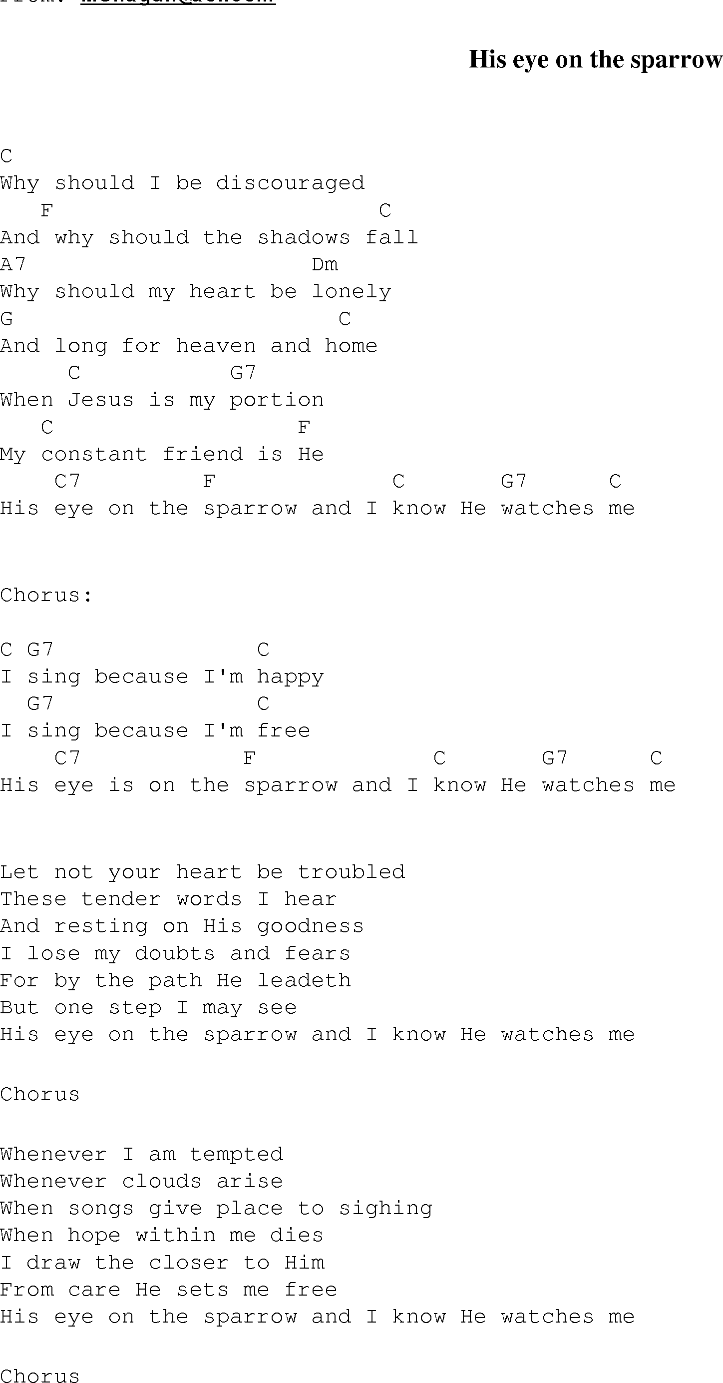 His eye on the sparrow christian gospel song lyrics and chords gospel song hiseyeisonthesparrow lyrics and chords hexwebz Gallery