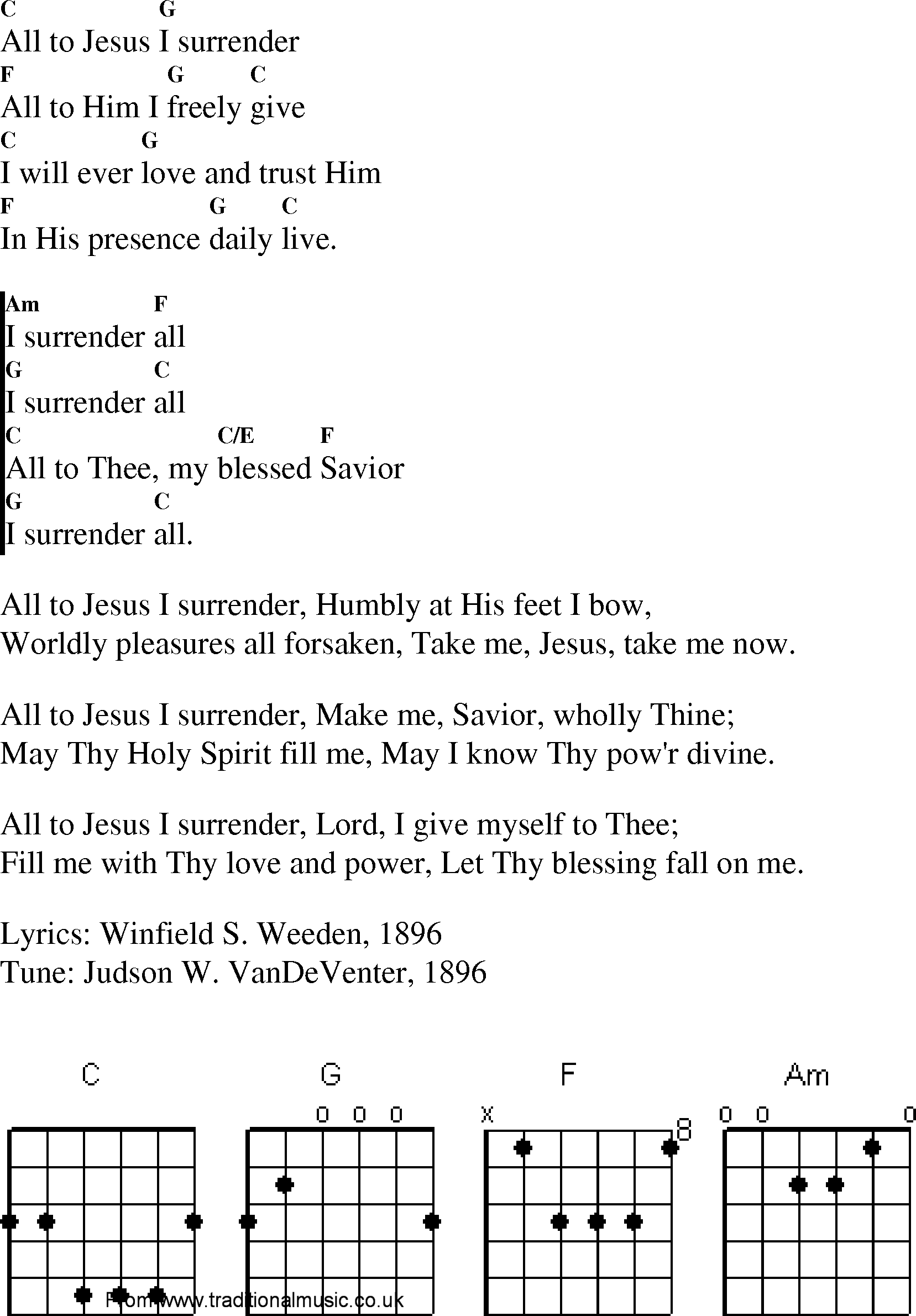 All to Jesus I surrender Lyrics - Christian Lyrics