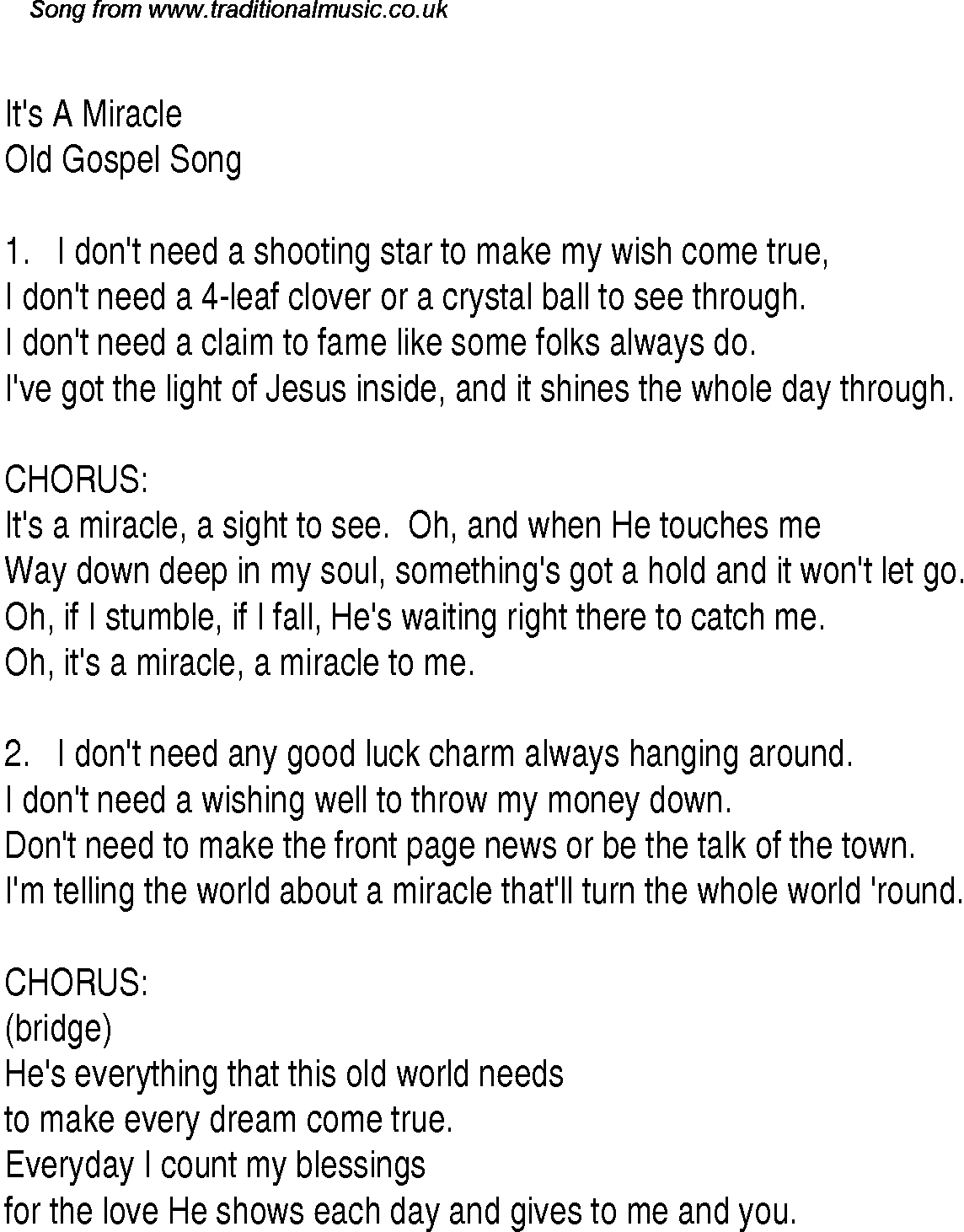 Gospel Song Its A Miracle
