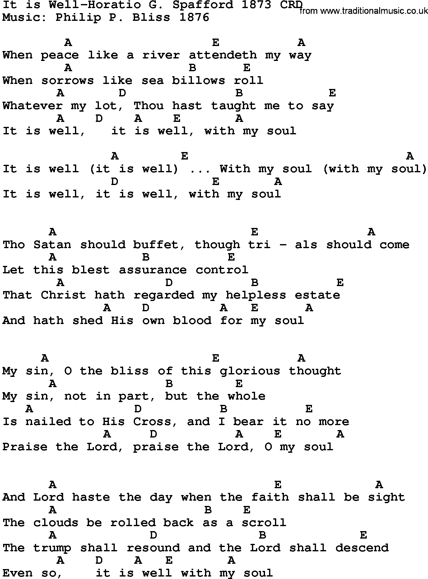 Gospel Song It Is Well Horatio G Spafford 15, lyrics and chords.