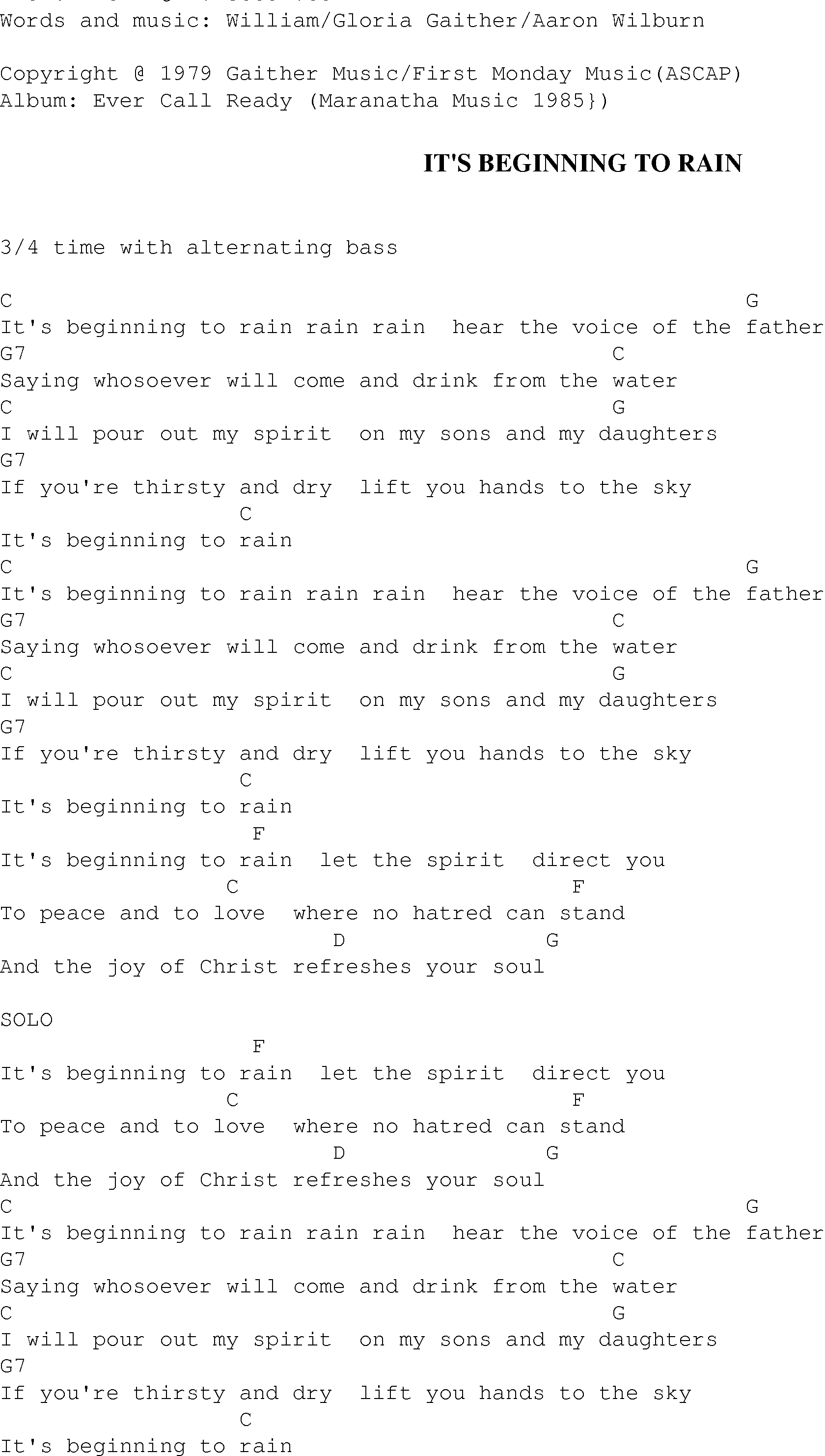 Its beginning to rain christian gospel song lyrics and chords gospel song itsbeginningtorain lyrics and chords hexwebz Image collections