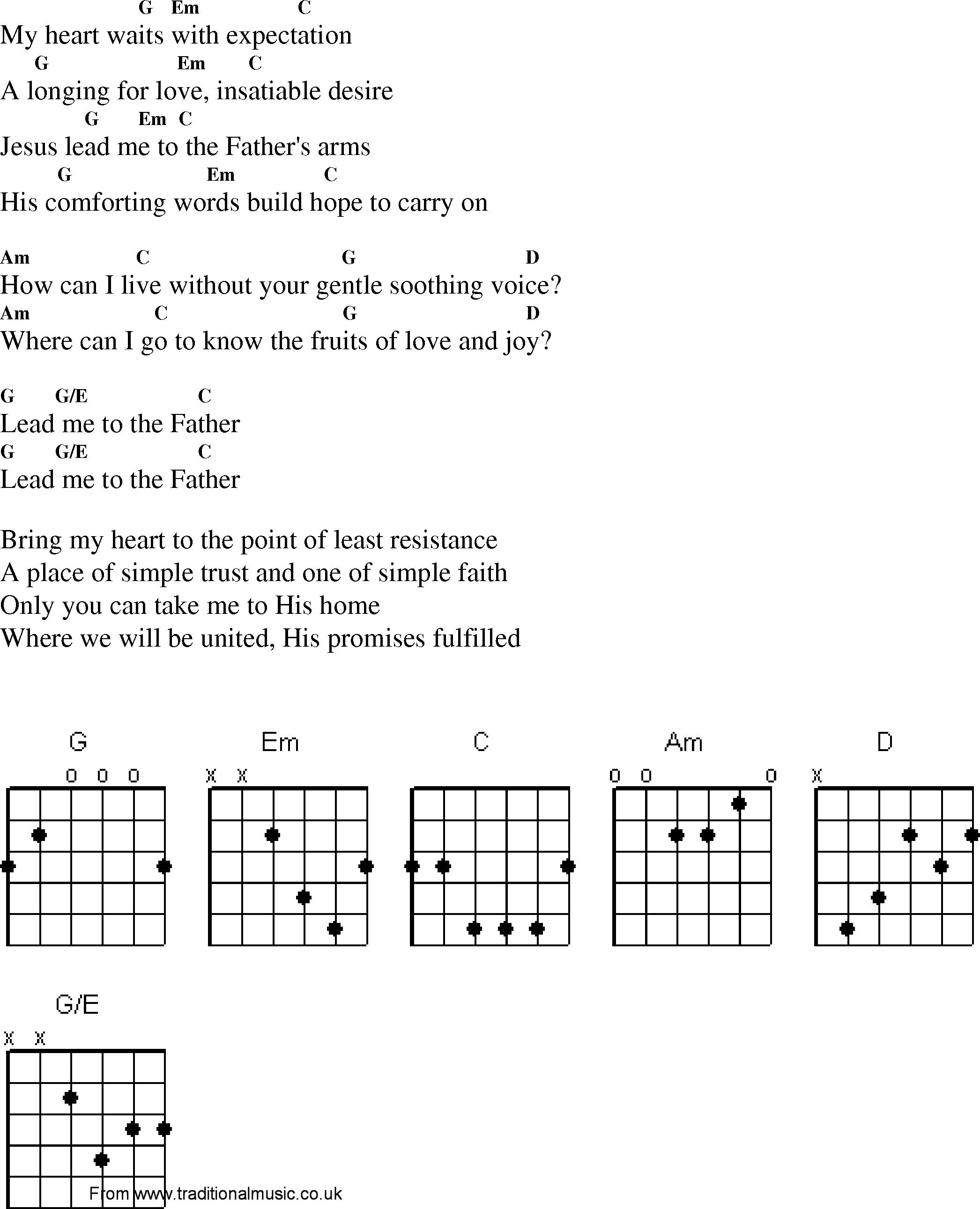 Christian Gospel Worship Song Lyrics With Chords Lead Me To The Father
