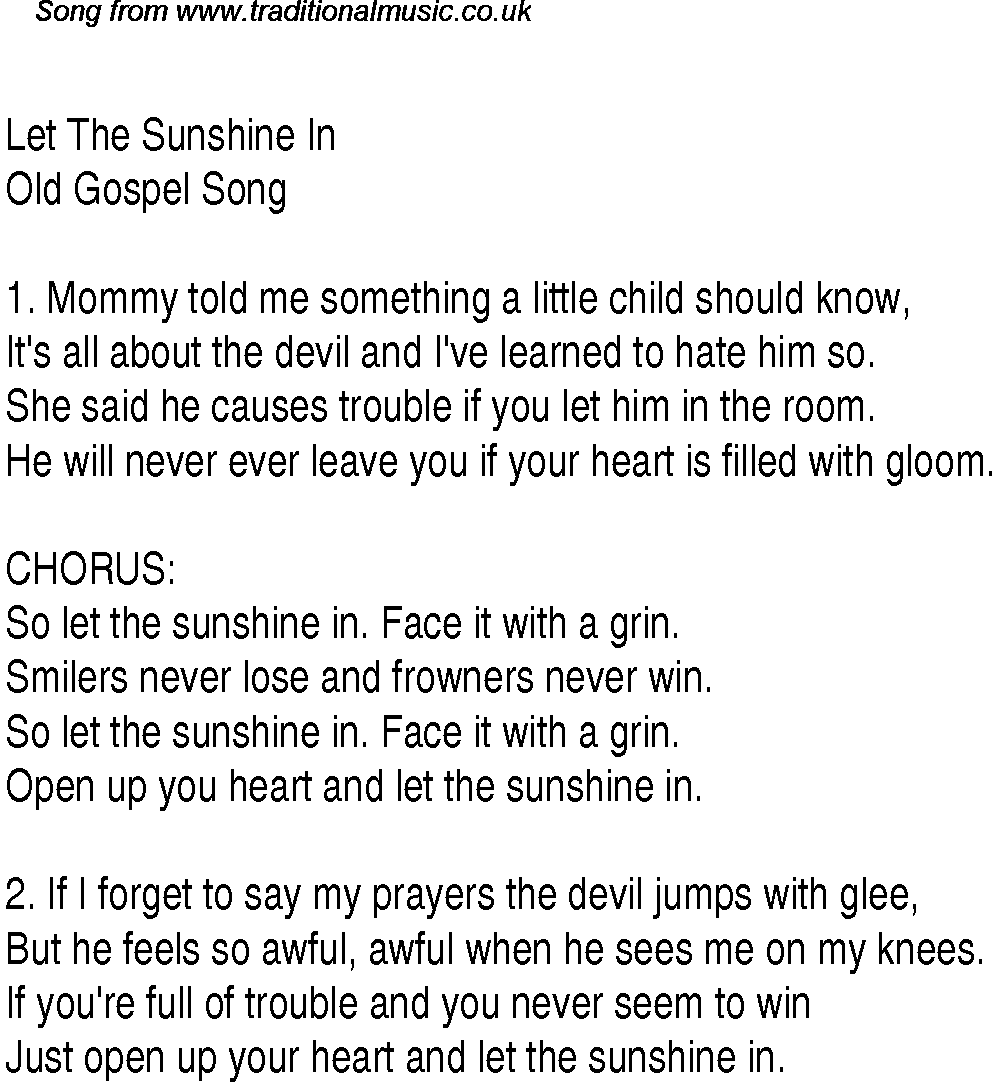 Let the sunshine in christian gospel song lyrics and chords gospel song let the sunshine in lyrics and chords stopboris Choice Image