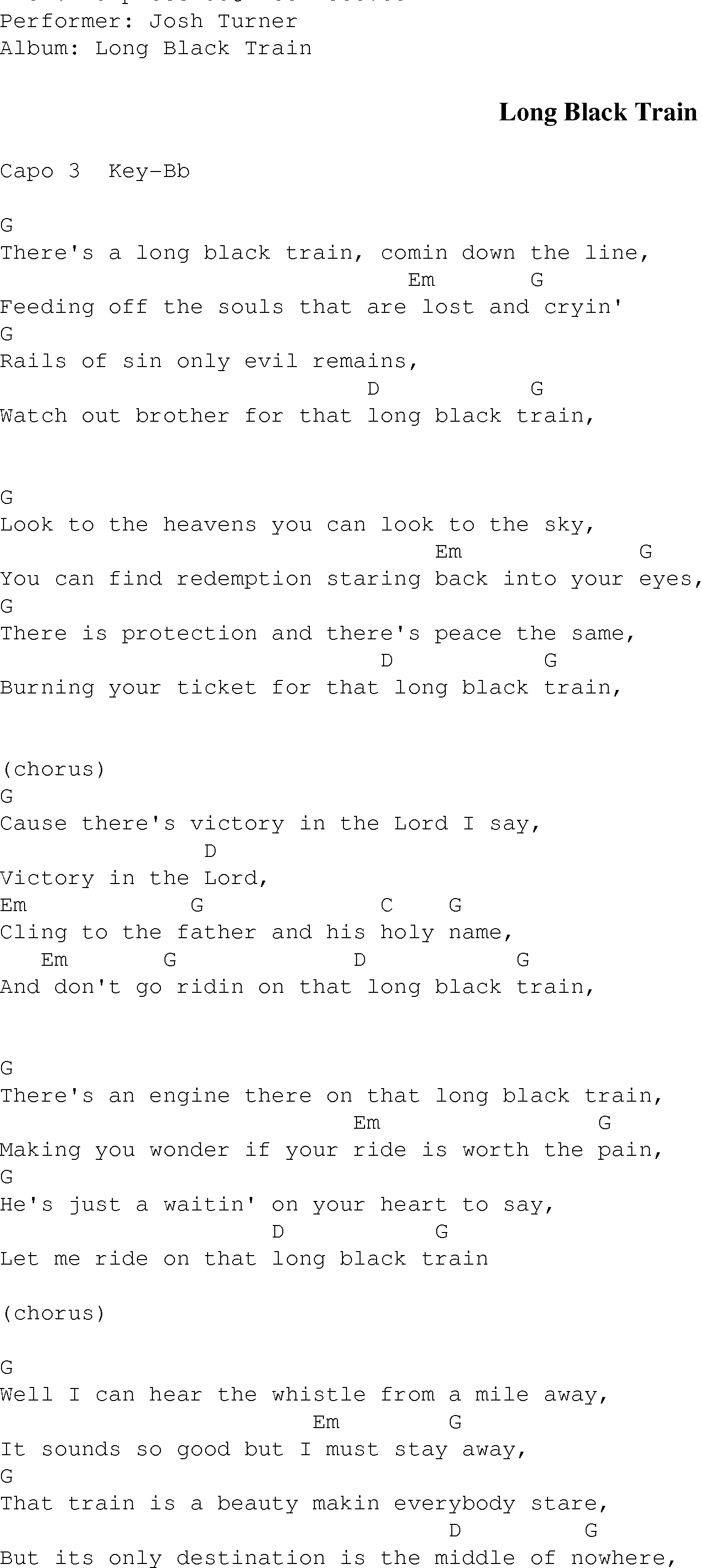 Long Black Train Christian Gospel Song Lyrics And Chords