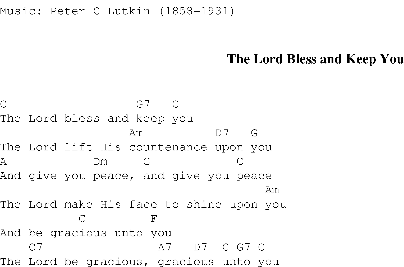 The Lord Bless And Keep You Christian Gospel Song Lyrics And Chords