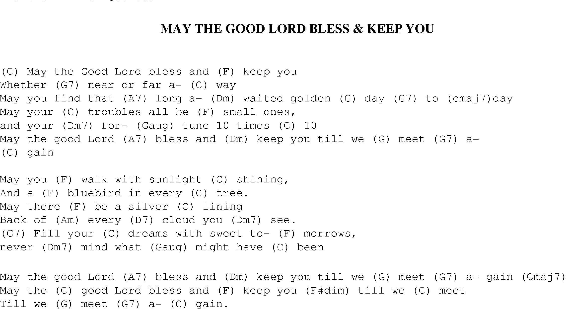 May The Good Lord Bless And Keep You Christian Gospel Song Lyrics And Chords