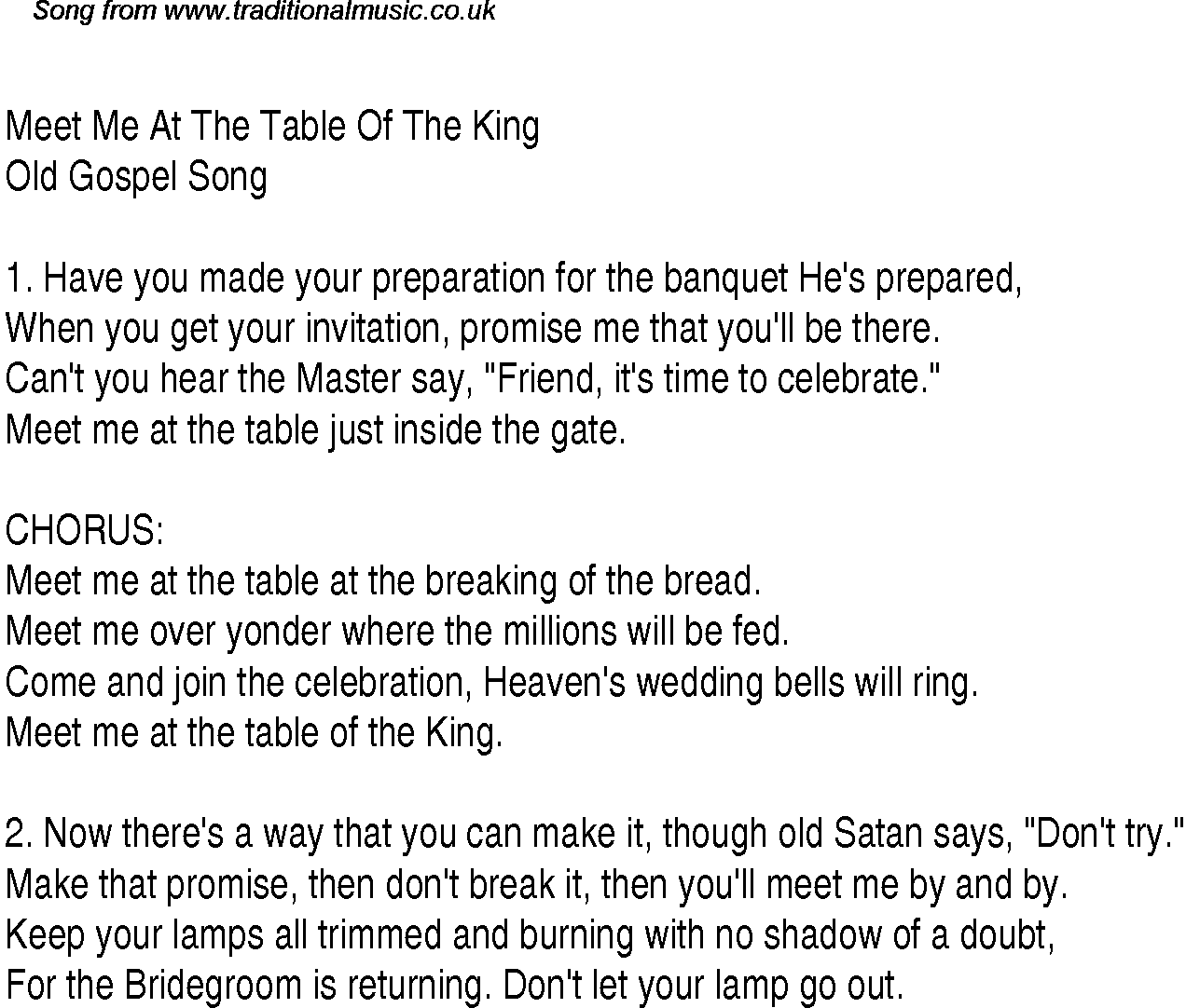 Attractive Meet Me At The Table Of The King   Christian Gospel Song Lyrics And Chords
