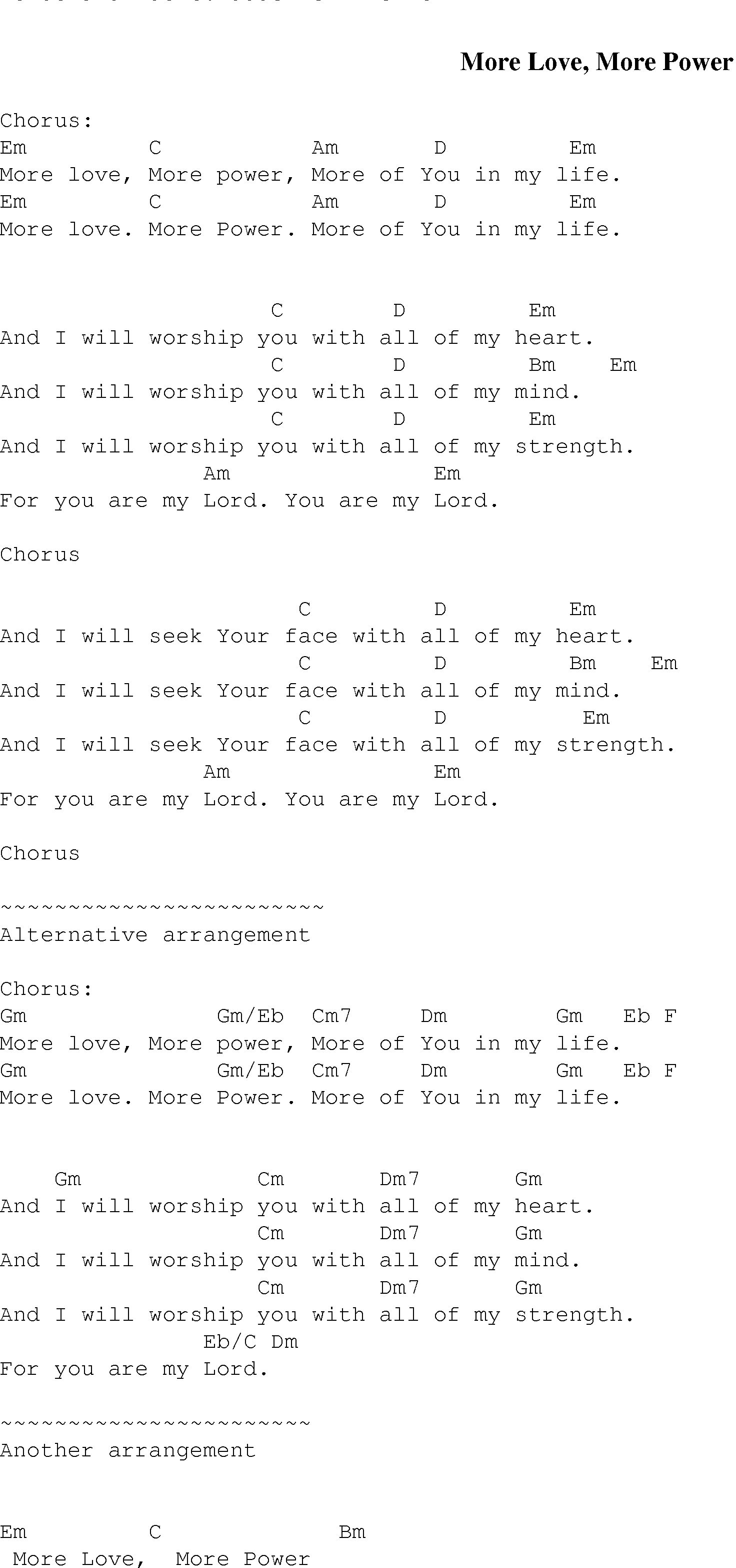 More love more power christian gospel song lyrics and chords gospel song morelovemorepower lyrics and chords hexwebz Choice Image
