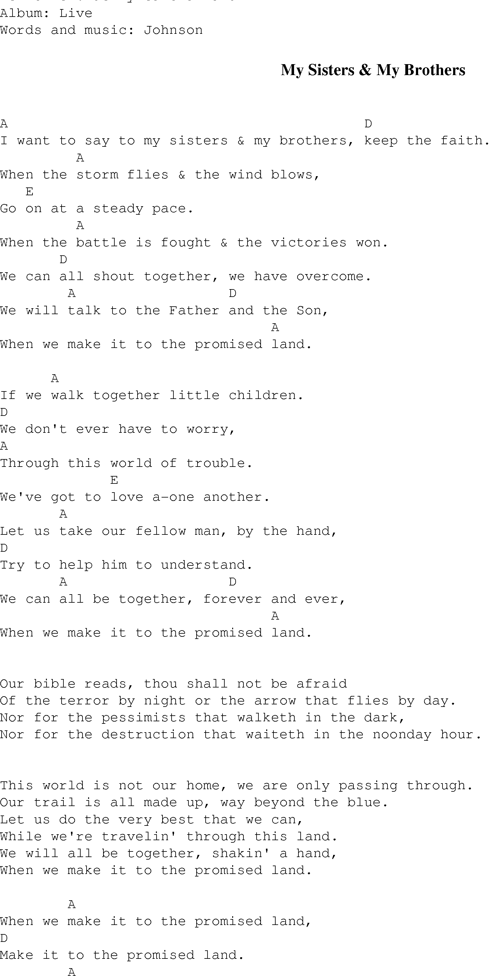 My Sisters & My Brothers - Christian Gospel Song Lyrics and Chords