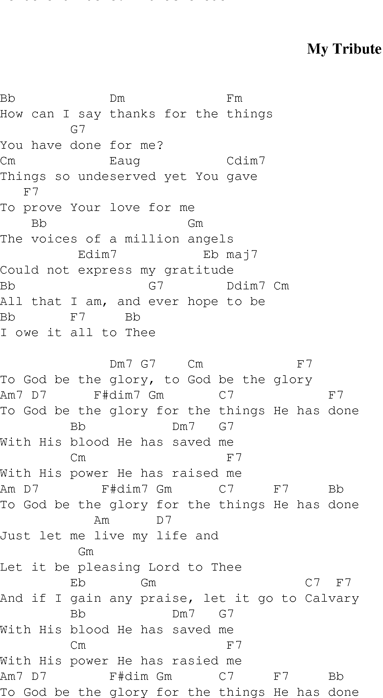 My Tribute Christian Gospel Song Lyrics And Chords