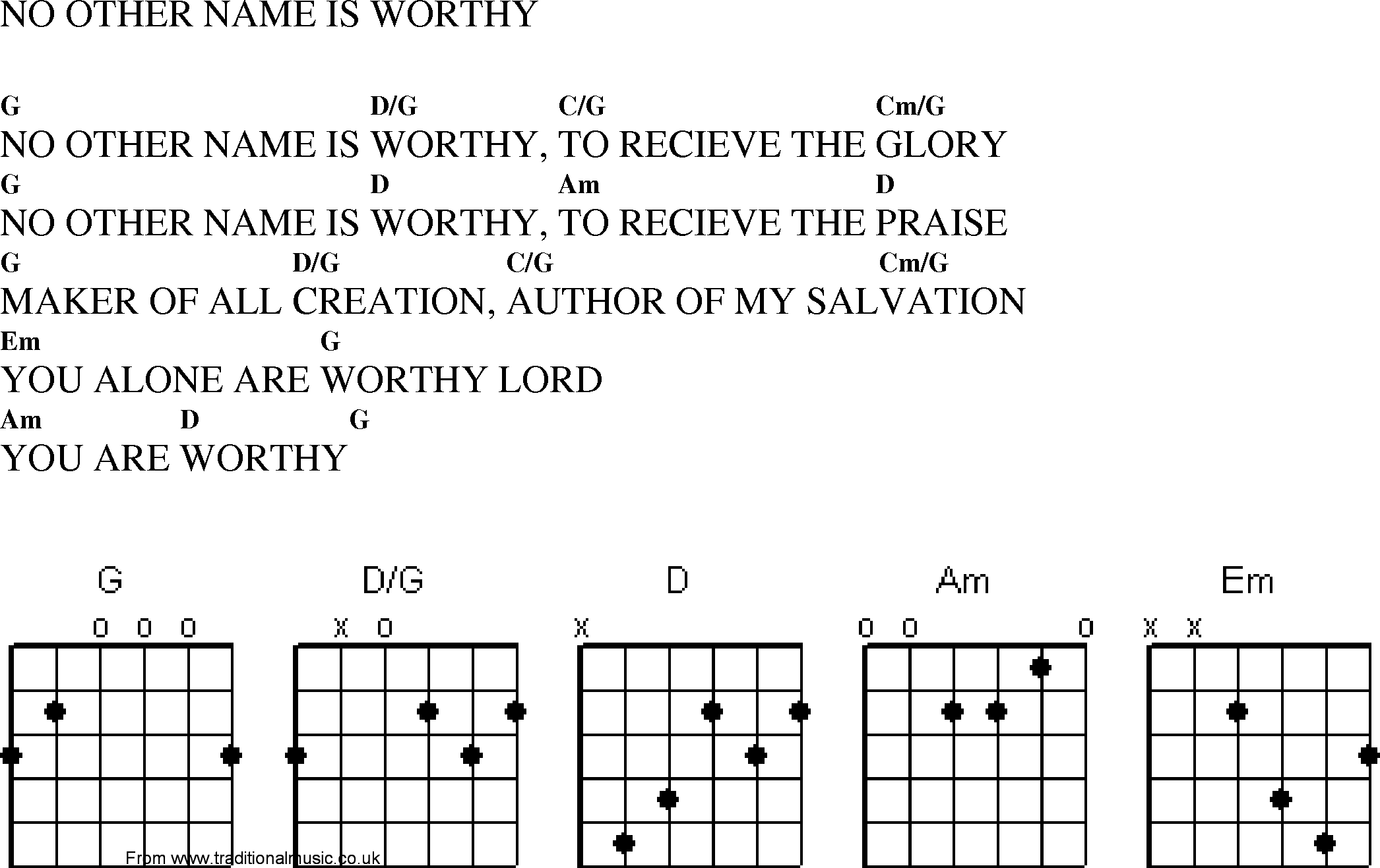 Christian Gospel Worship Song Lyrics with Chords   No Other Name ...