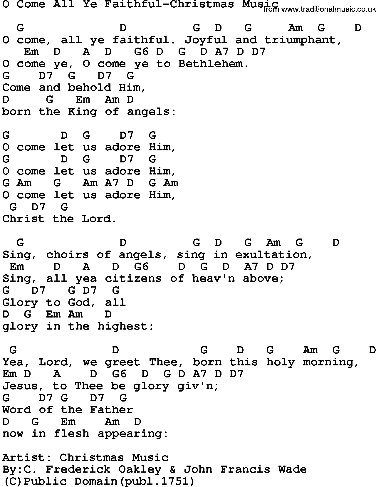 Song: O Come All Ye Faithful-Christmas Music, lyrics and chords.