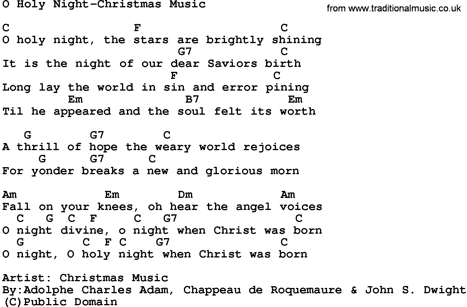 Song: O Holy Night-Christmas Music, lyrics and chords.