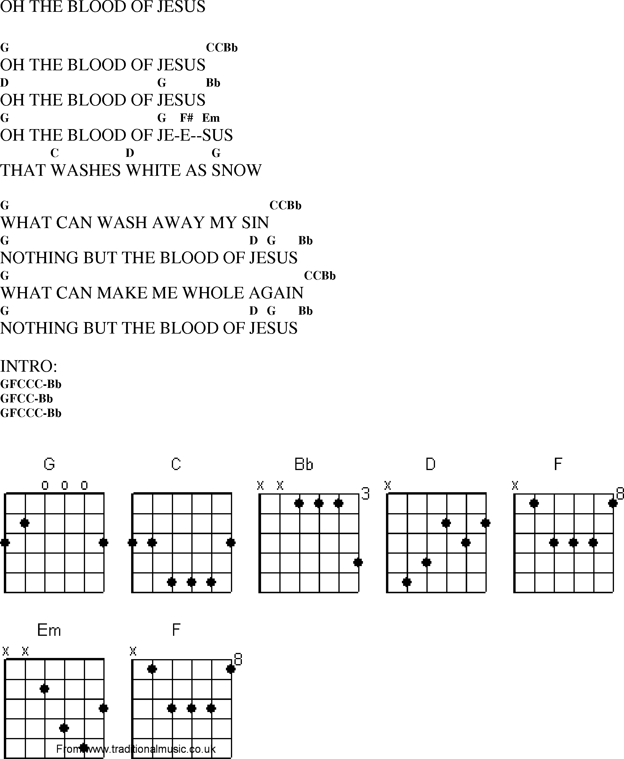 Christian Gospel Worship Song Lyrics With Chords Oh The Blood Of Jesus