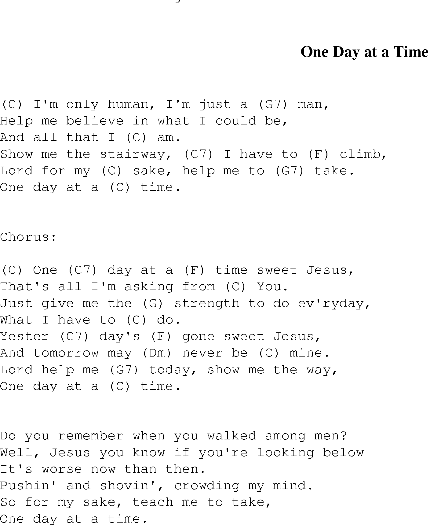 One Day At A Time Christian Gospel Song Lyrics And Chords