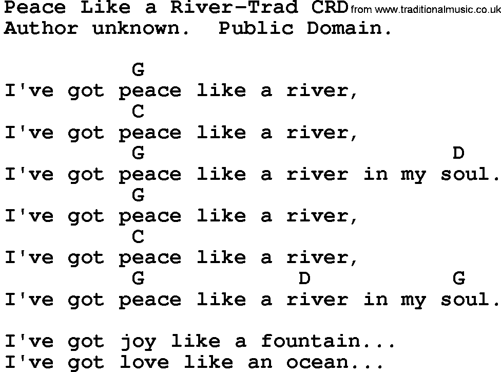 Gospel Song Peace Like A River Trad Lyrics And Chords