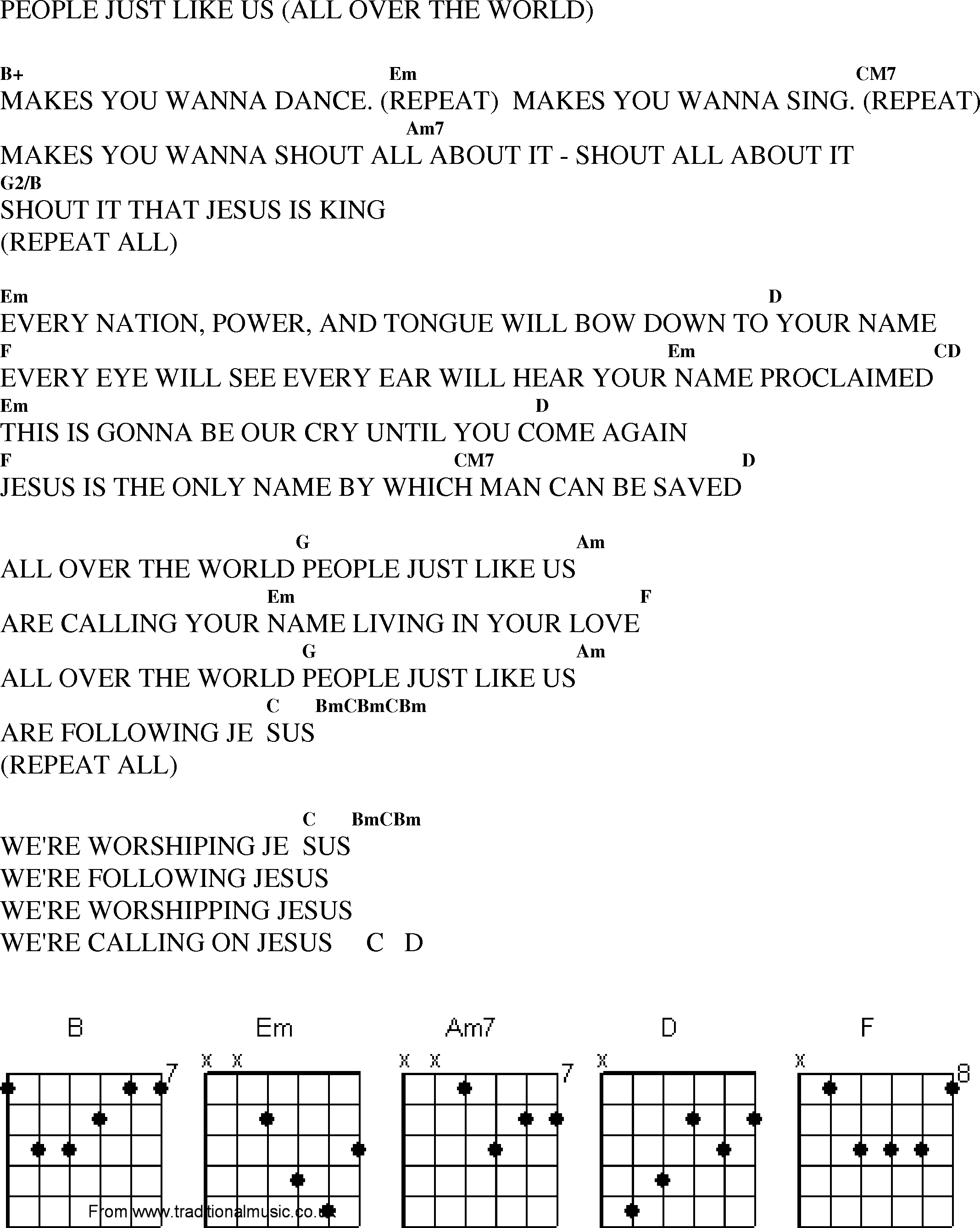 Christian Gospel Worship Song Lyrics with Chords - People