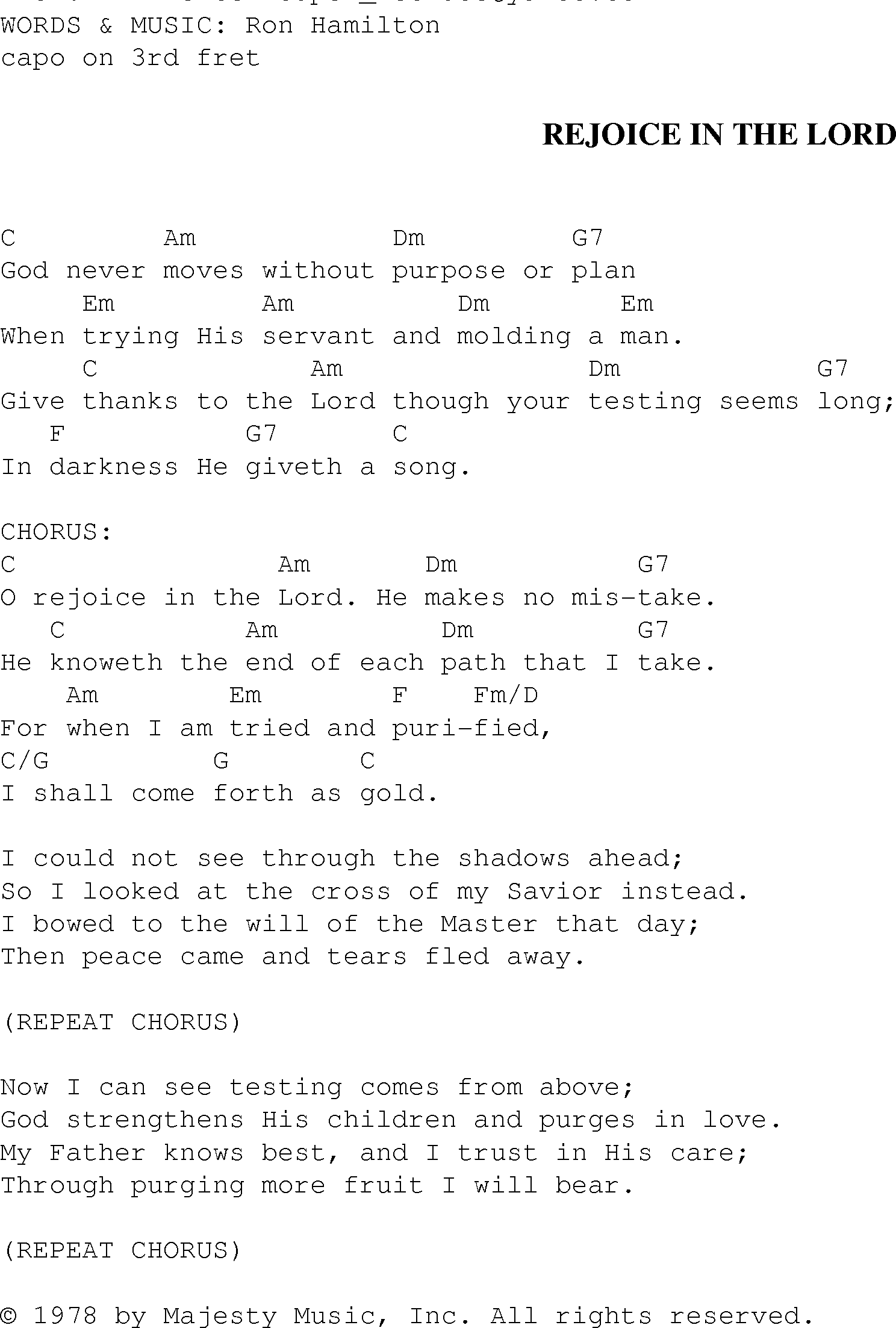 Rejoice In The Lord Christian Gospel Song Lyrics And Chords