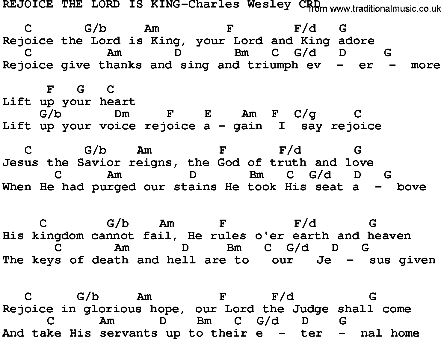 Gospel Song Rejoice The Lord Is King Charles Wesley Lyrics And Chords