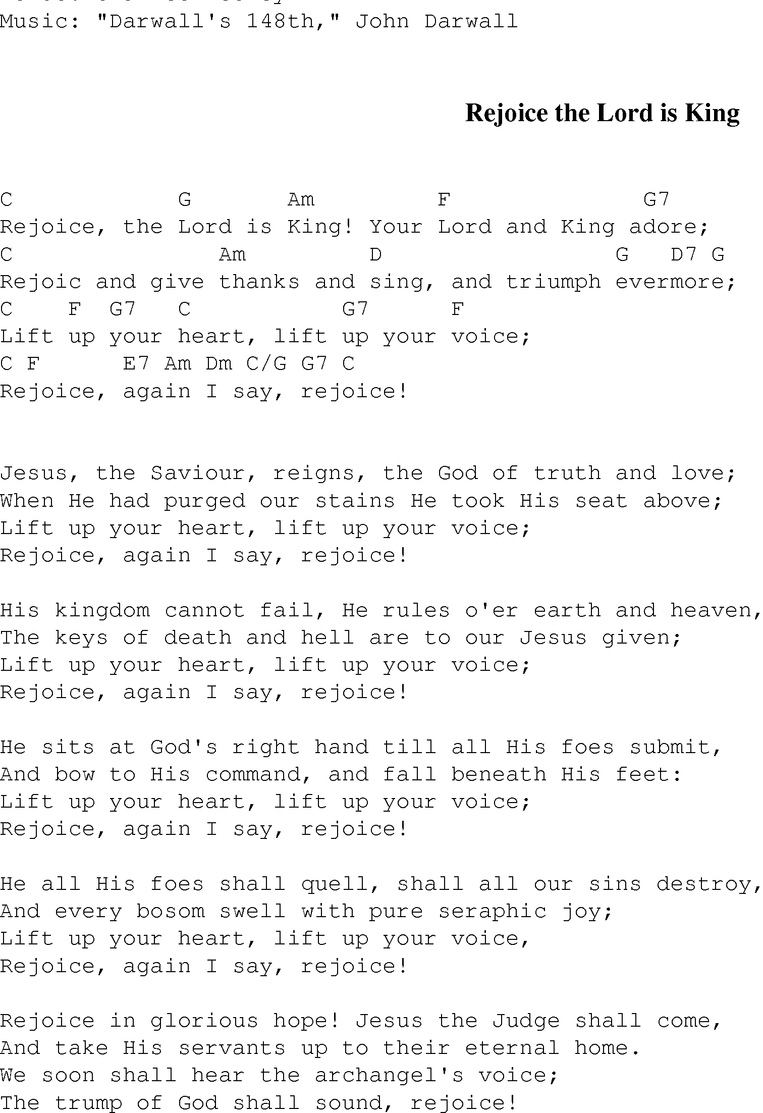 Rejoice The Lord Is King Christian Gospel Song Lyrics And Chords
