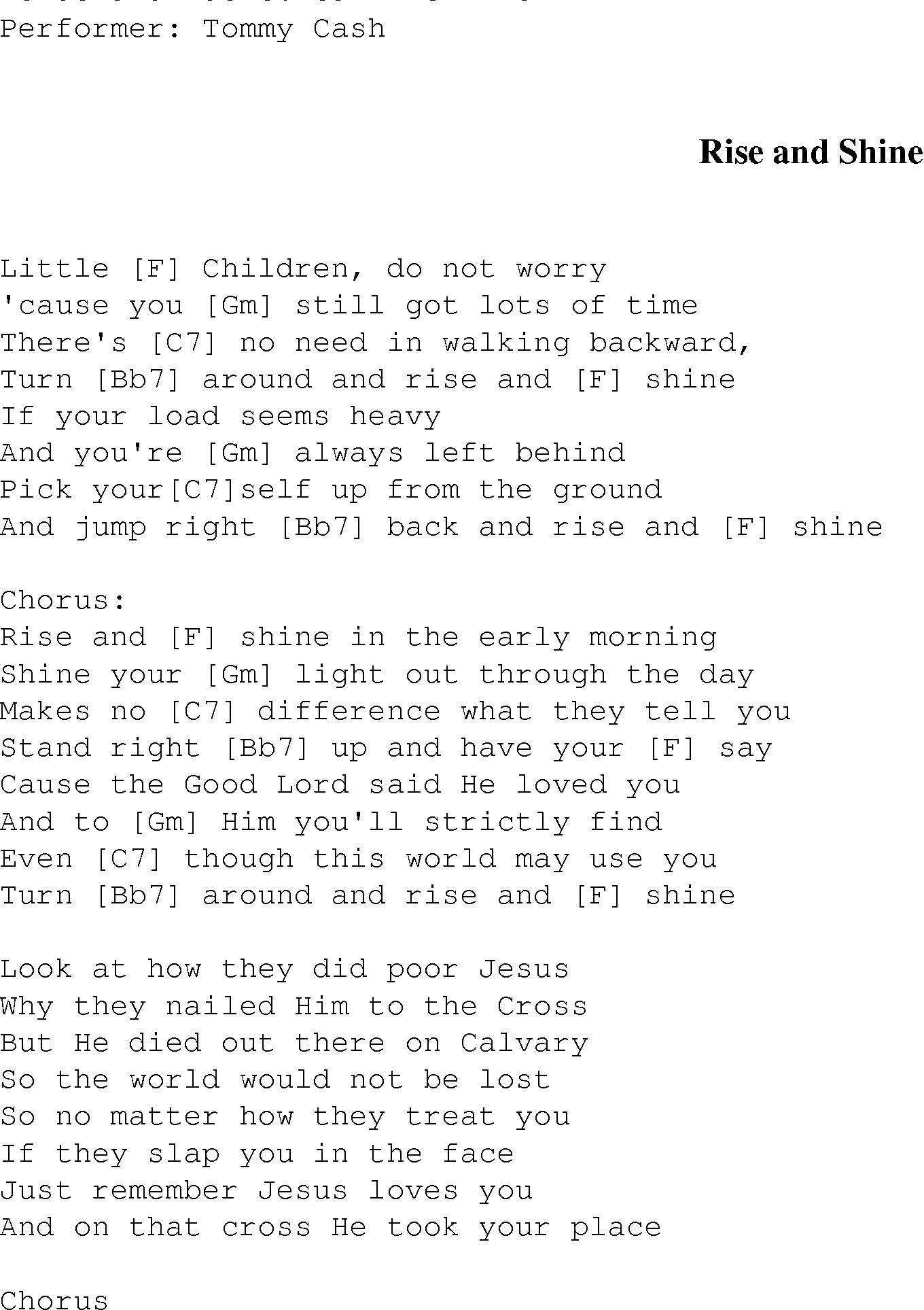Rise And Shine Christian Gospel Song Lyrics And Chords