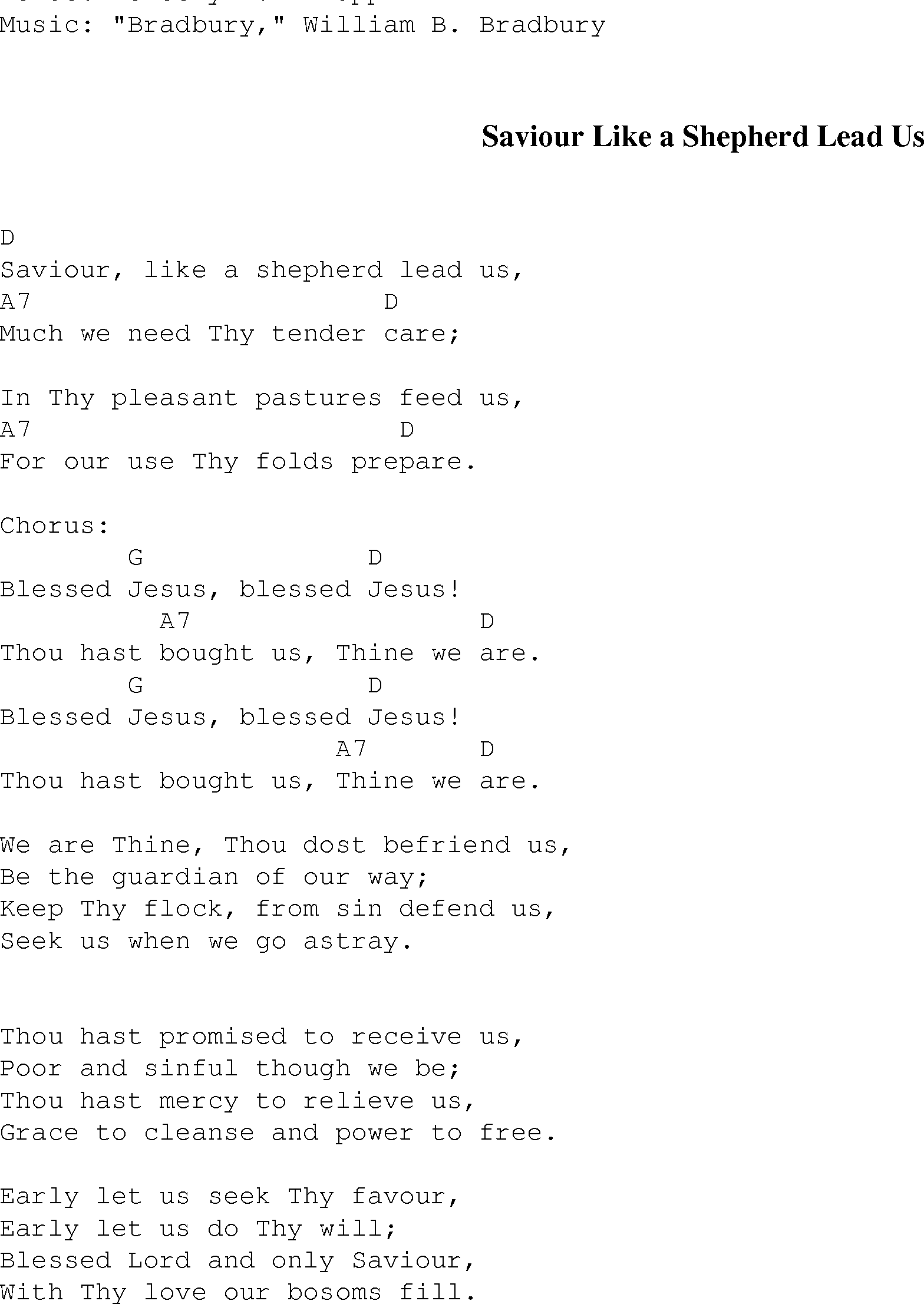 Saviour Like A Shepherd Lead Us Christian Gospel Song Lyrics And