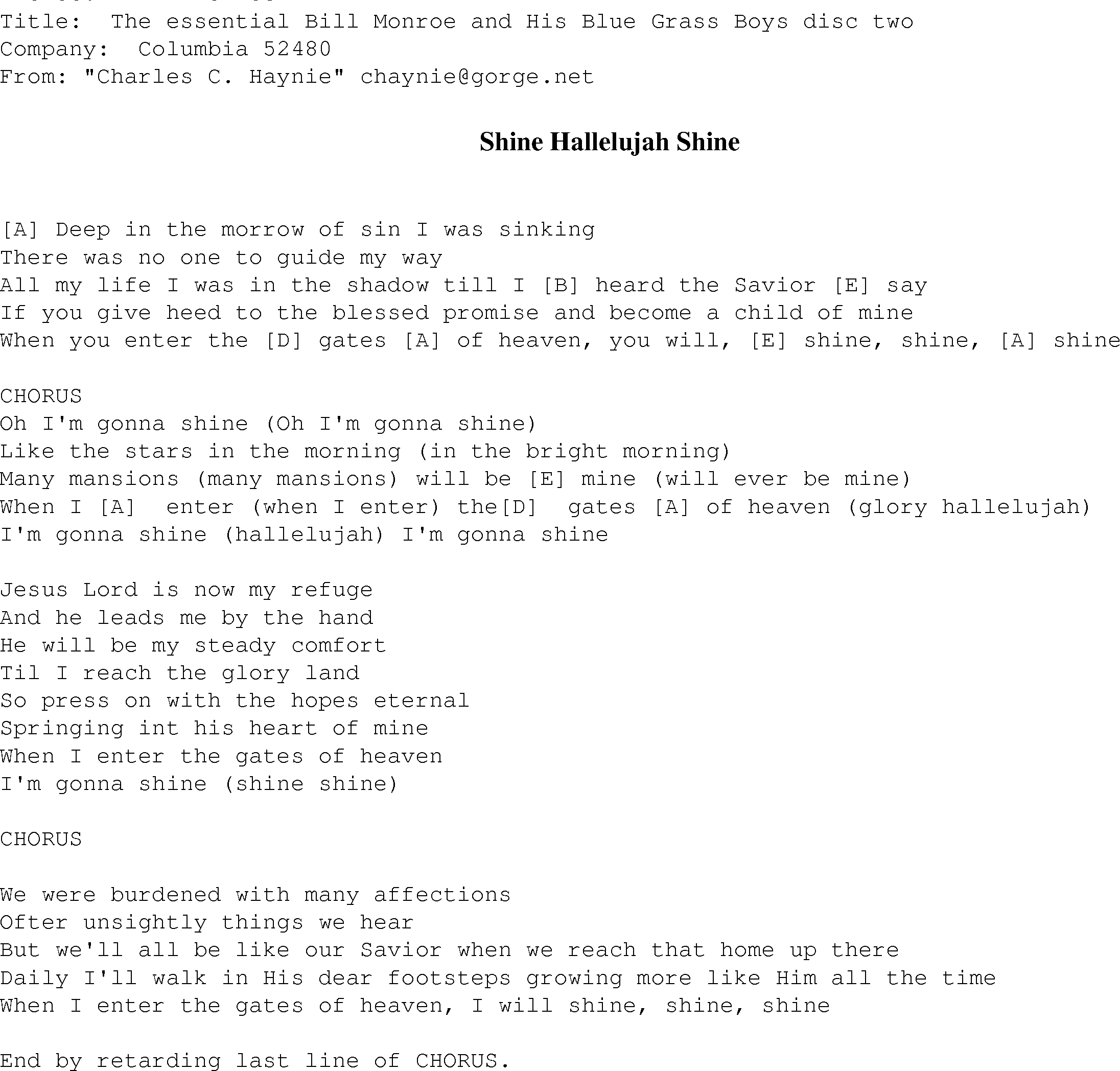 Shine Hallelujah Shine Christian Gospel Song Lyrics And Chords