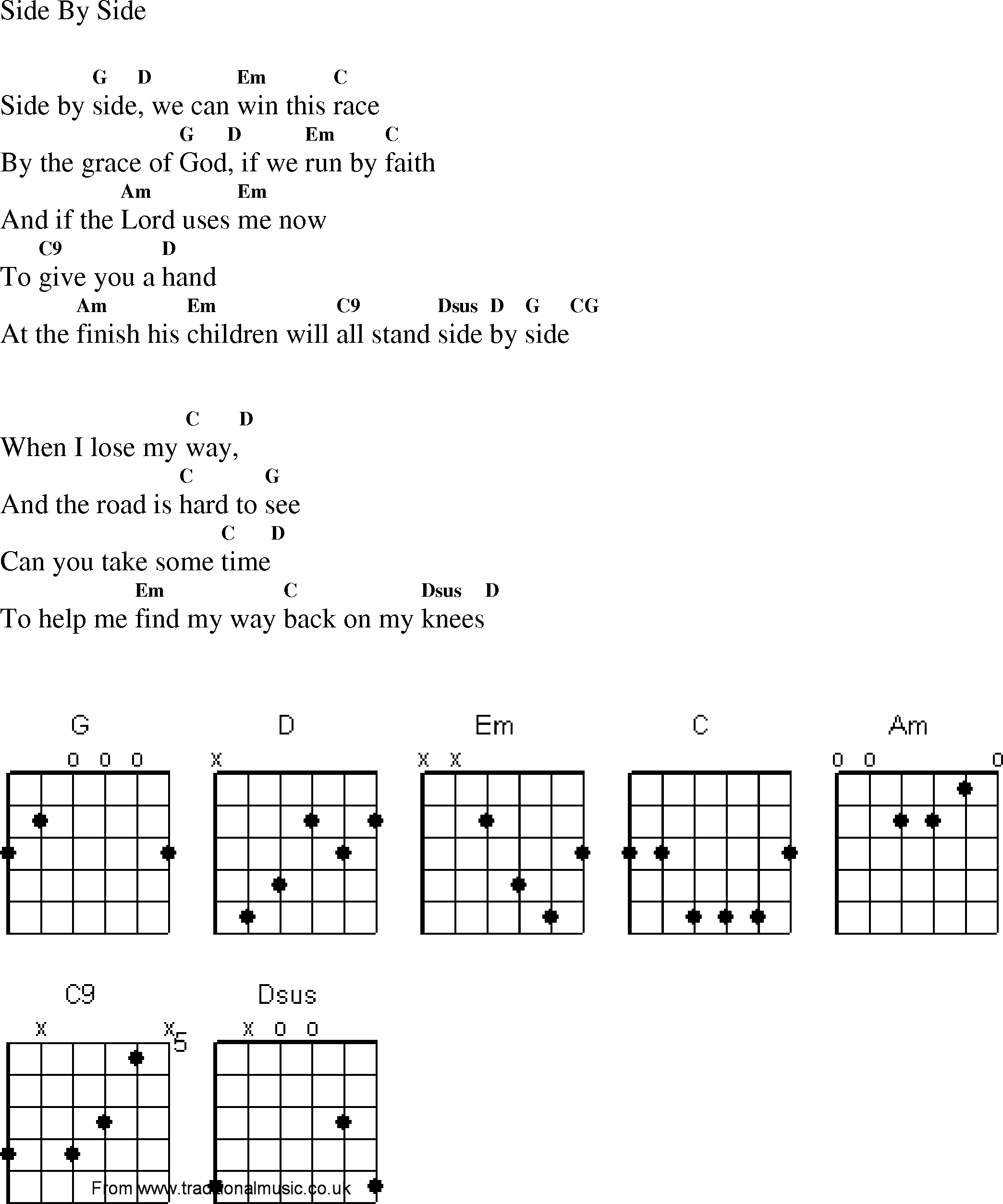 Christian Gospel Worship Song Lyrics with Chords - Side By Side