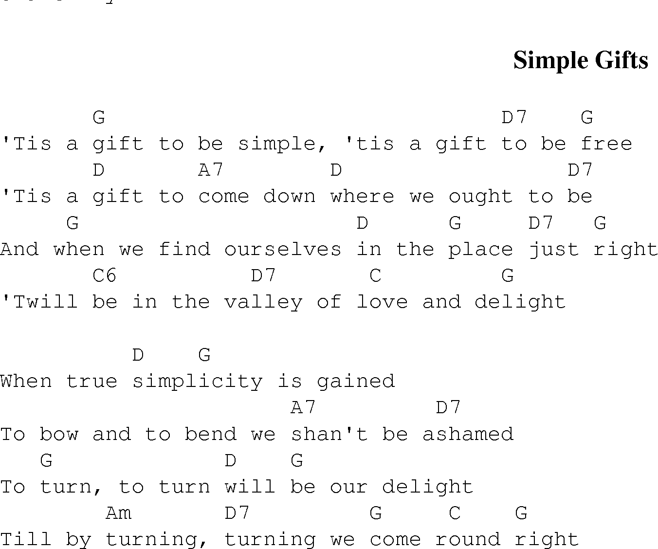 Simple gifts christian gospel song lyrics and chords gospel song simplegifts lyrics and chords hexwebz Images