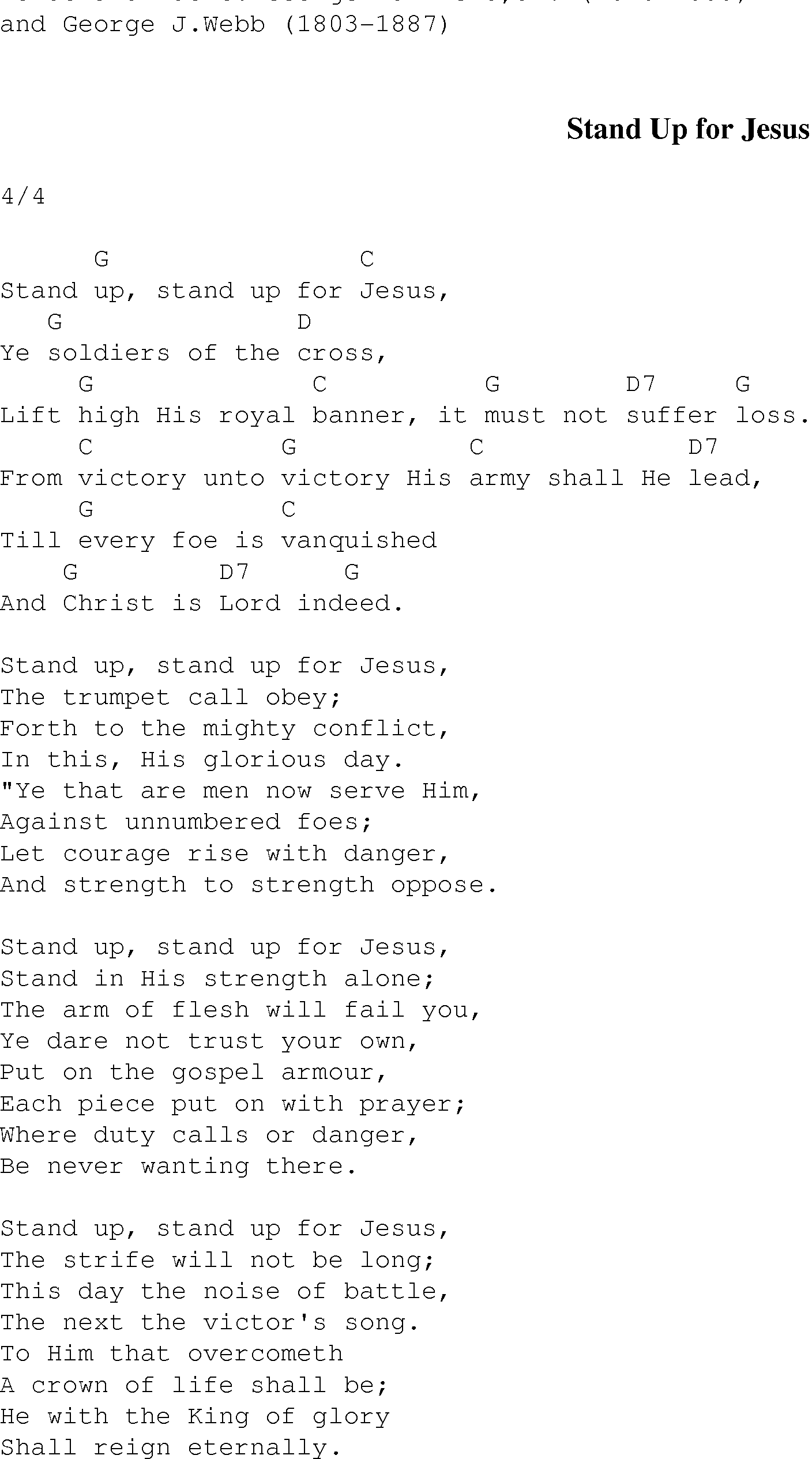 Stand Up For Jesus Christian Gospel Song Lyrics And Chords
