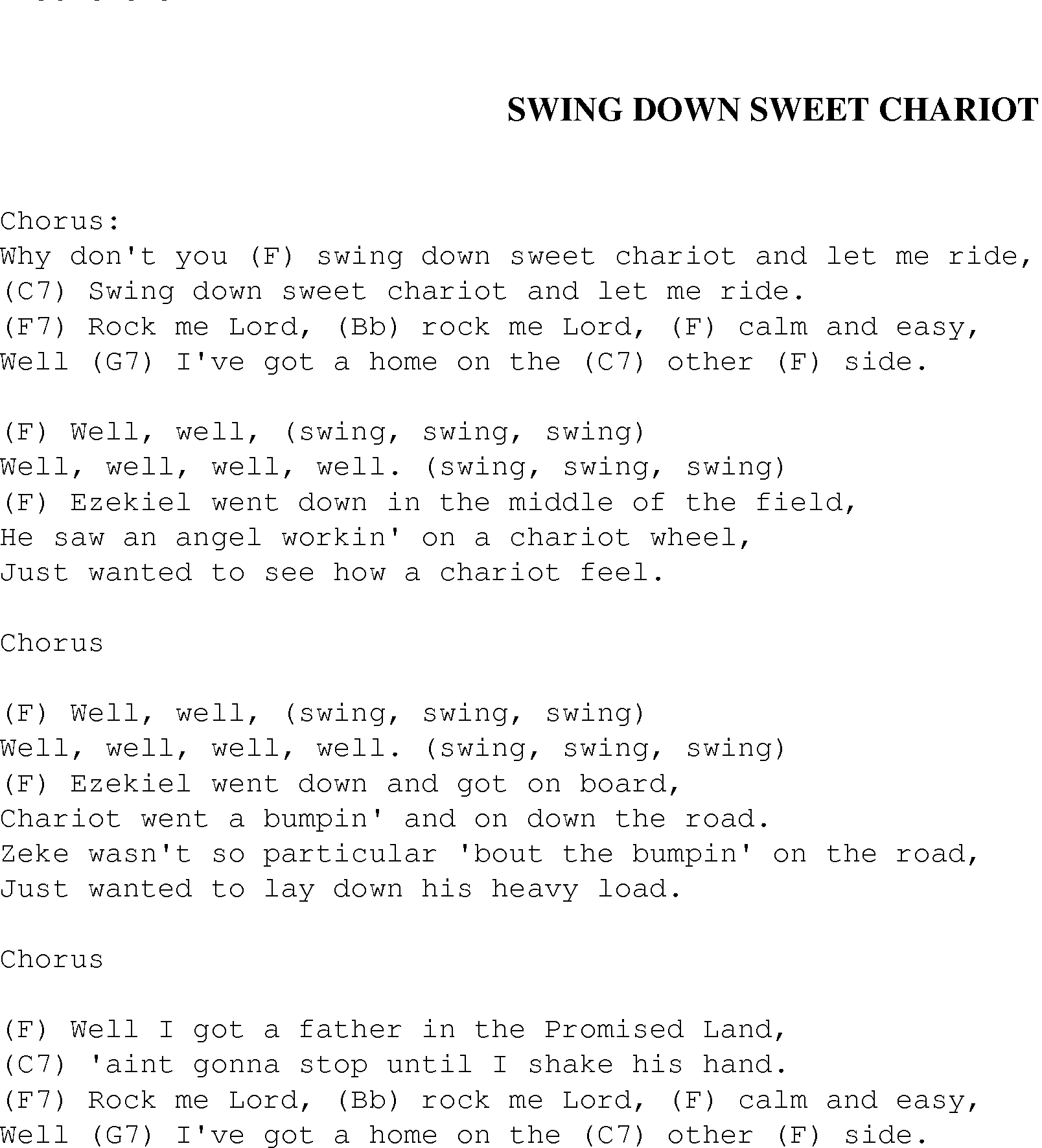 Swing Down Sweet Chariot Christian Gospel Song Lyrics And Chords